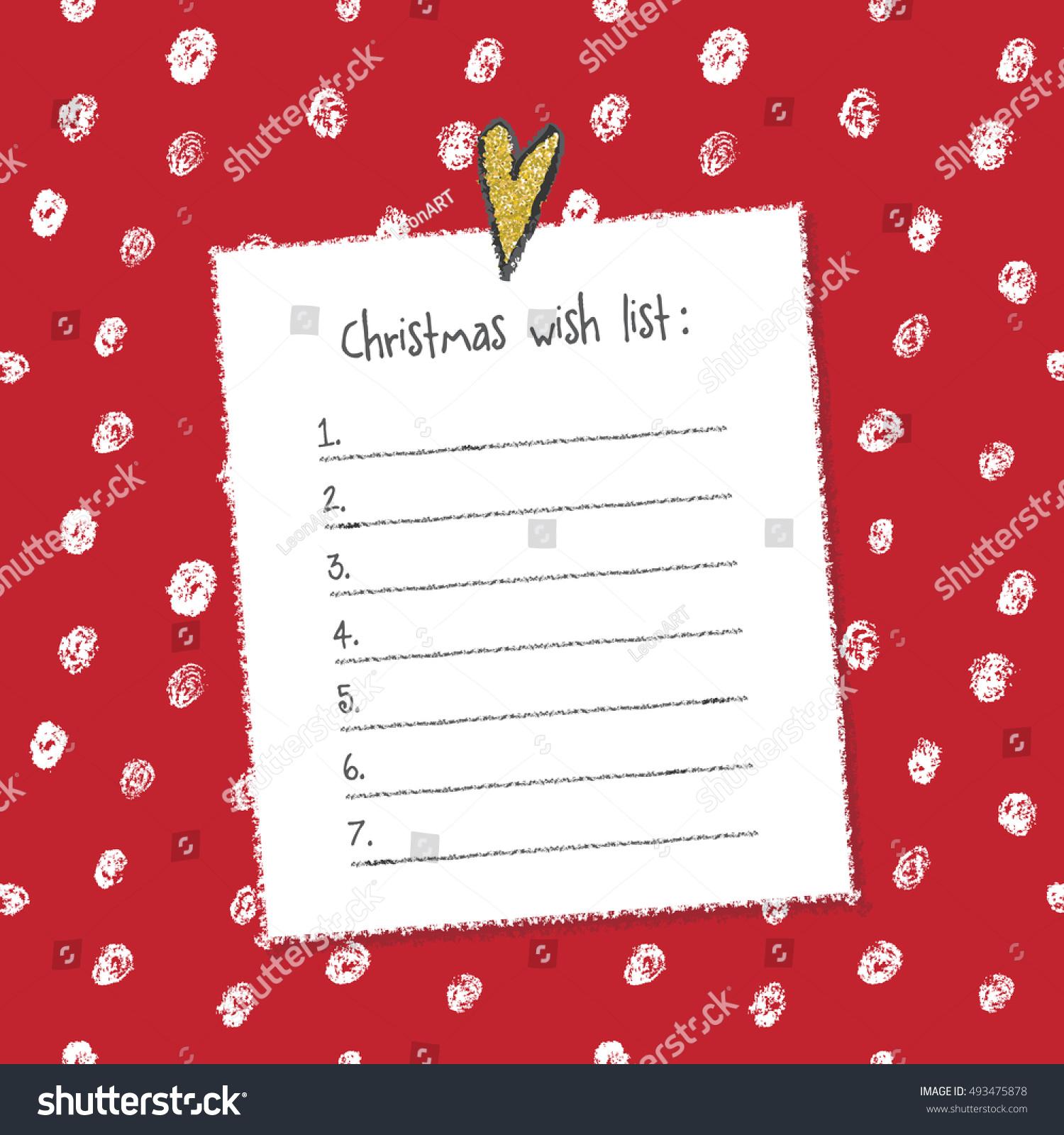 Christmas Wish List Template Hand Drawn Stock Vector 493475878 ...