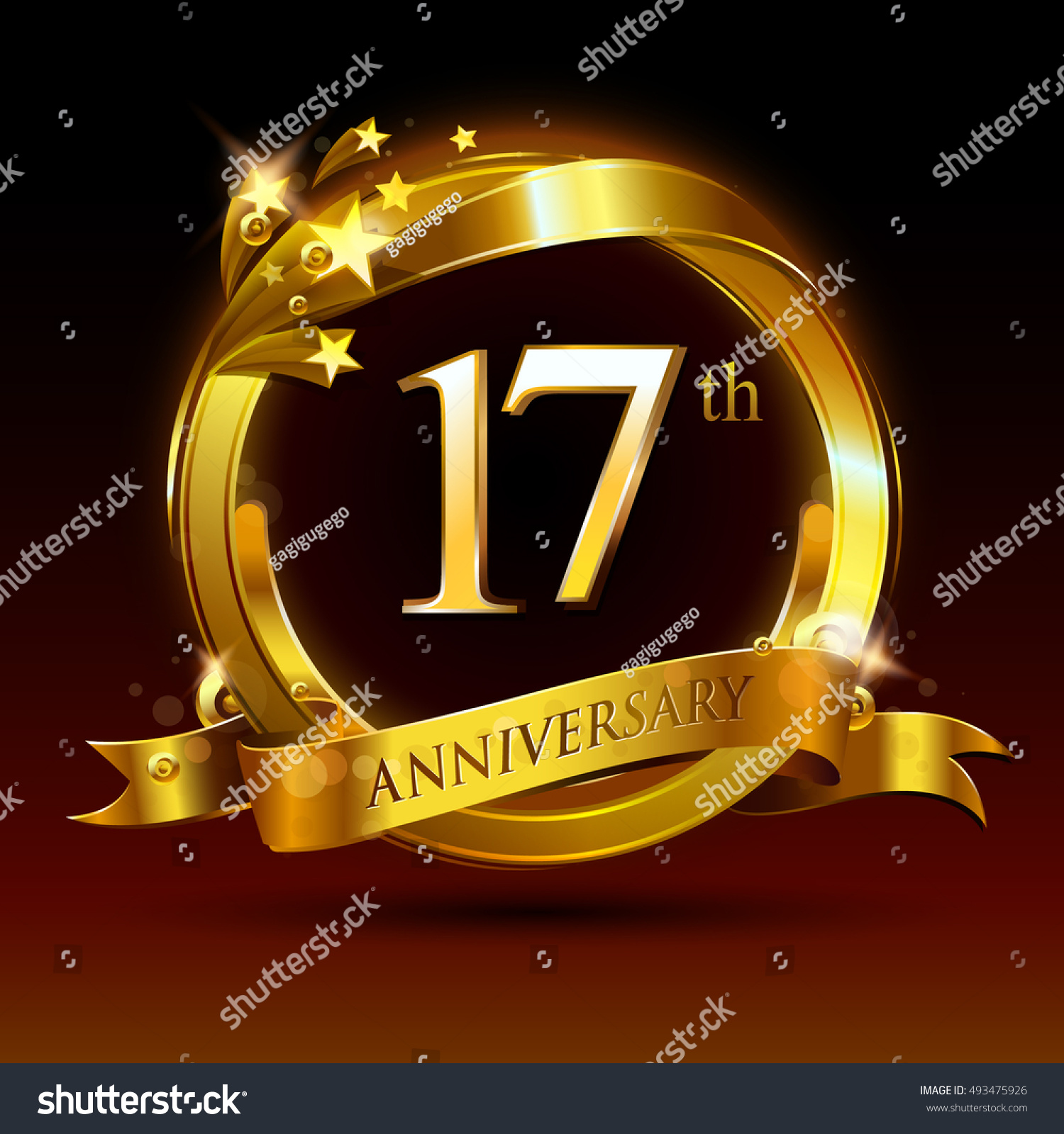 17th golden anniversary logo 17 years stock vector 493475926 17th golden anniversary logo 17 years anniversary celebration with ring and ribbon buycottarizona