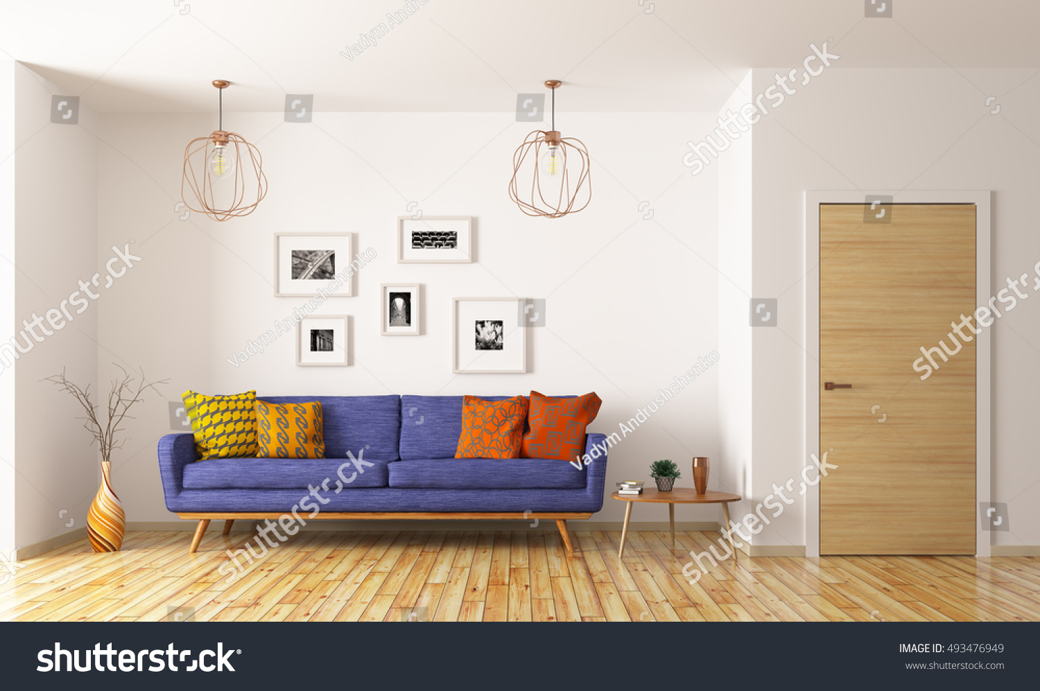 modern interior of living room with blue sofa and door 3d rendering