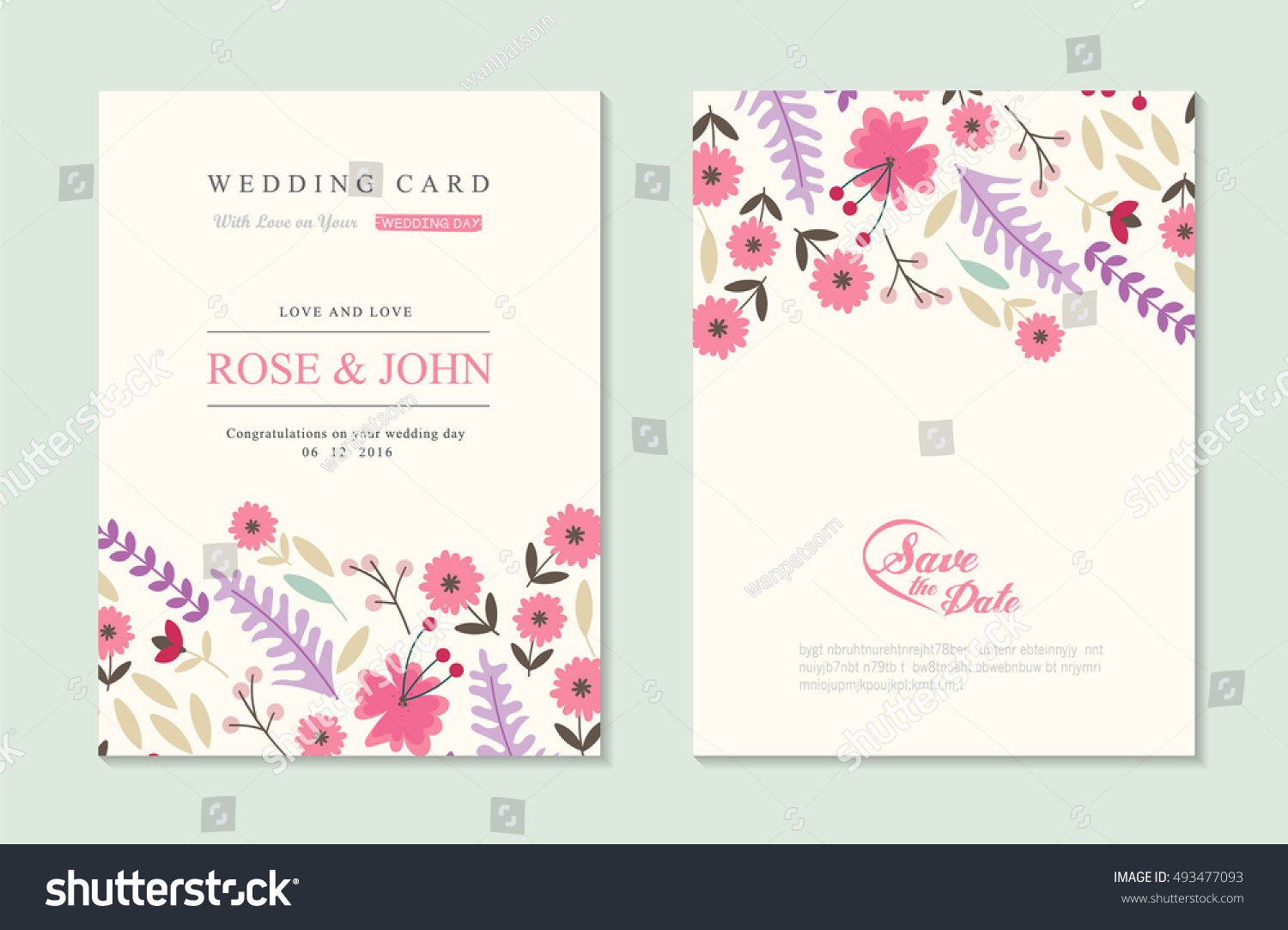 Wedding Invitation Card Suite Flower Templates Stock Vector Royalty