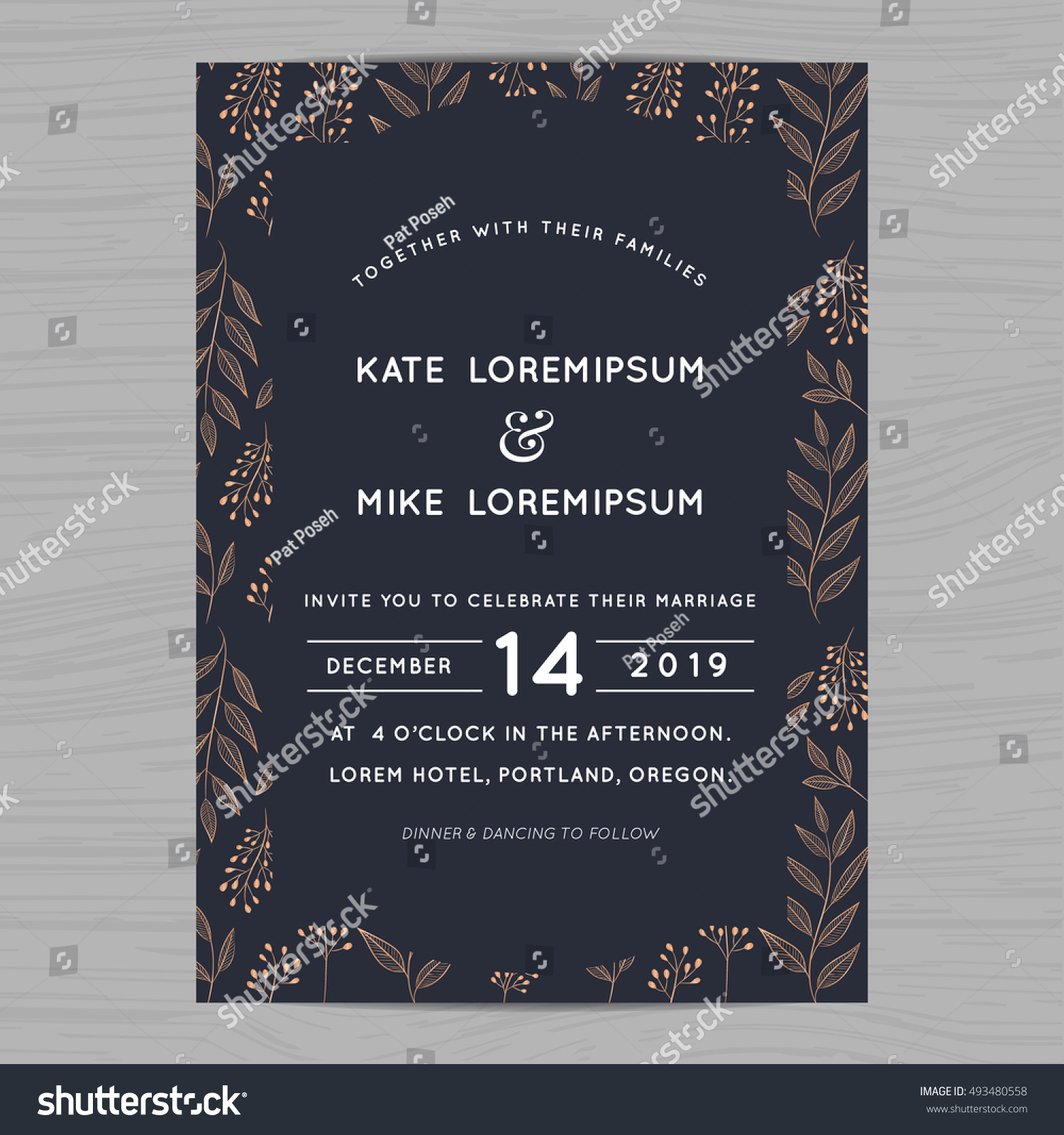 Wedding Invitation Card Template Decorate Flower Stock Vector