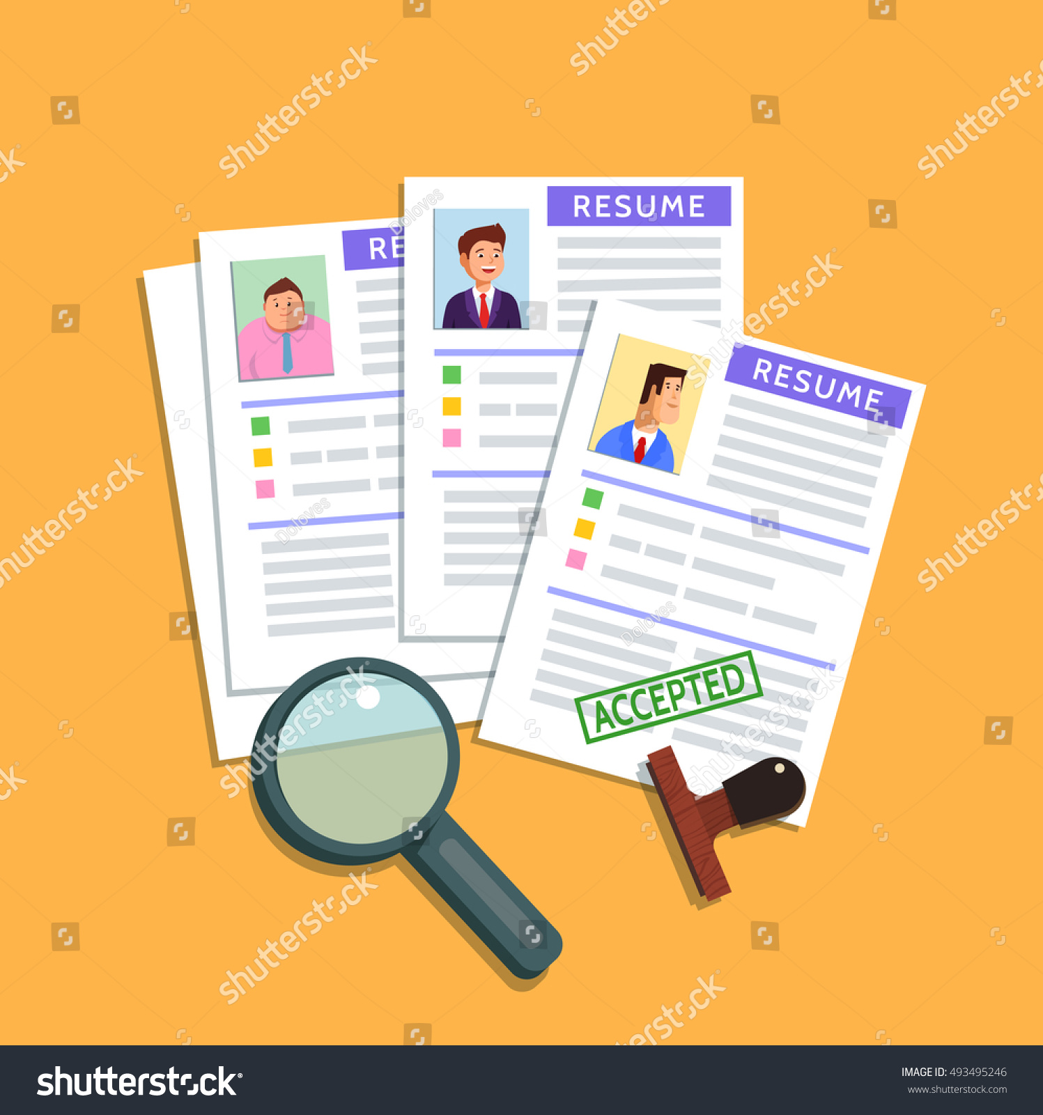 vector flat illustration resume cv icon stock vector