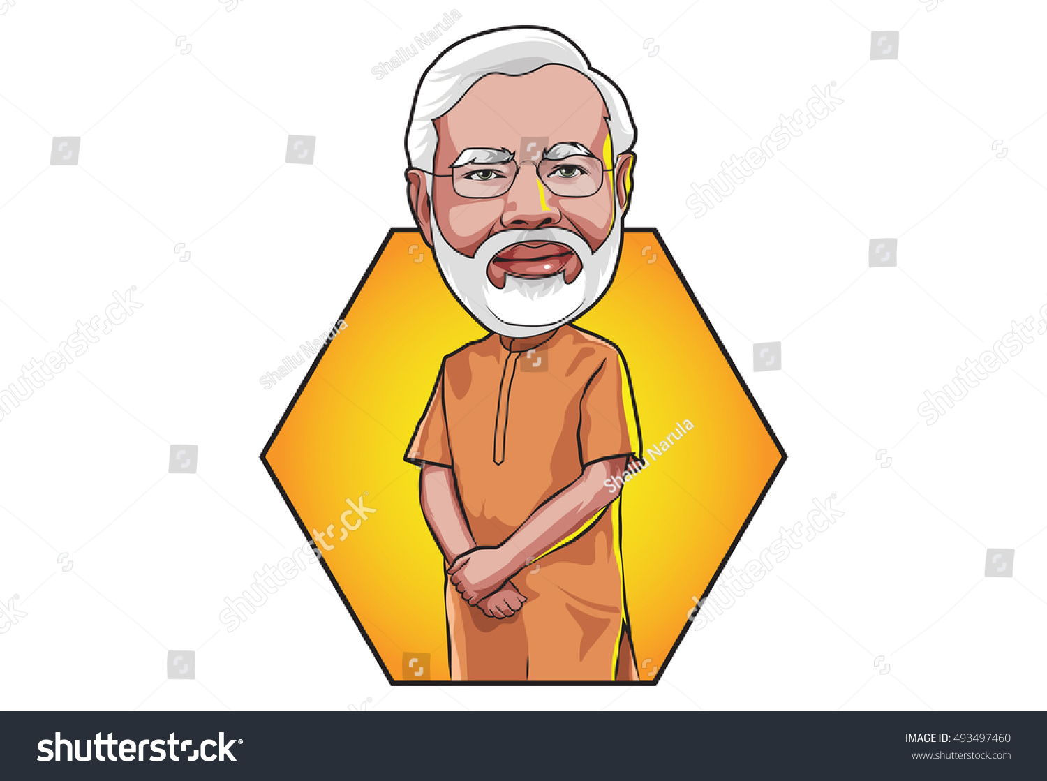 Oct 5 2016 Caricature character illustration of Narendra Modi Prime Minister of India