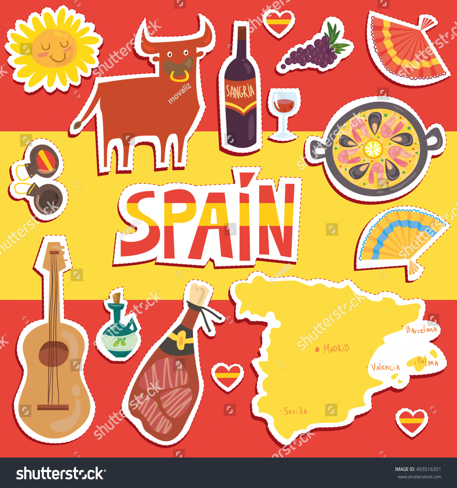 Set More Than 12 Spanish Symbols Stock Vector Royalty Free
