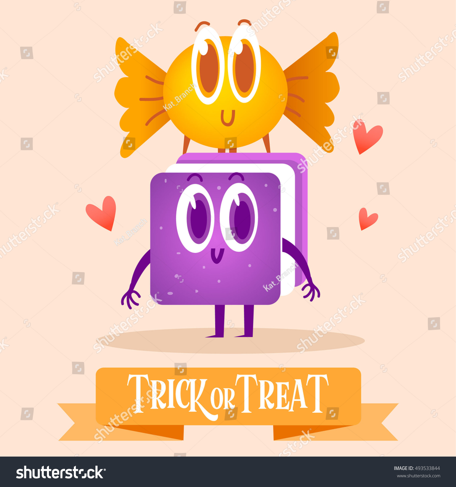 Set Cartoon Candy Halloween Greeting Cards Stock Vector Royalty