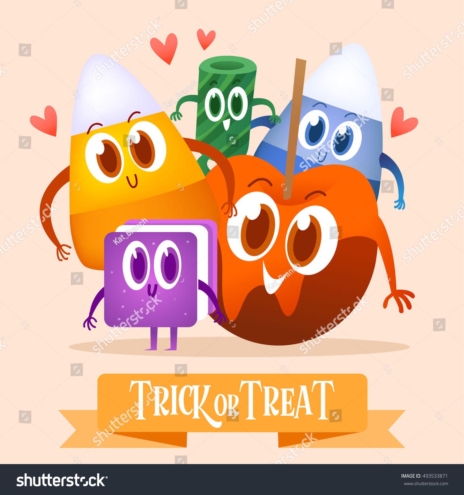 Set Cartoon Candy Halloween Greeting Cards Stock Vector Royalty