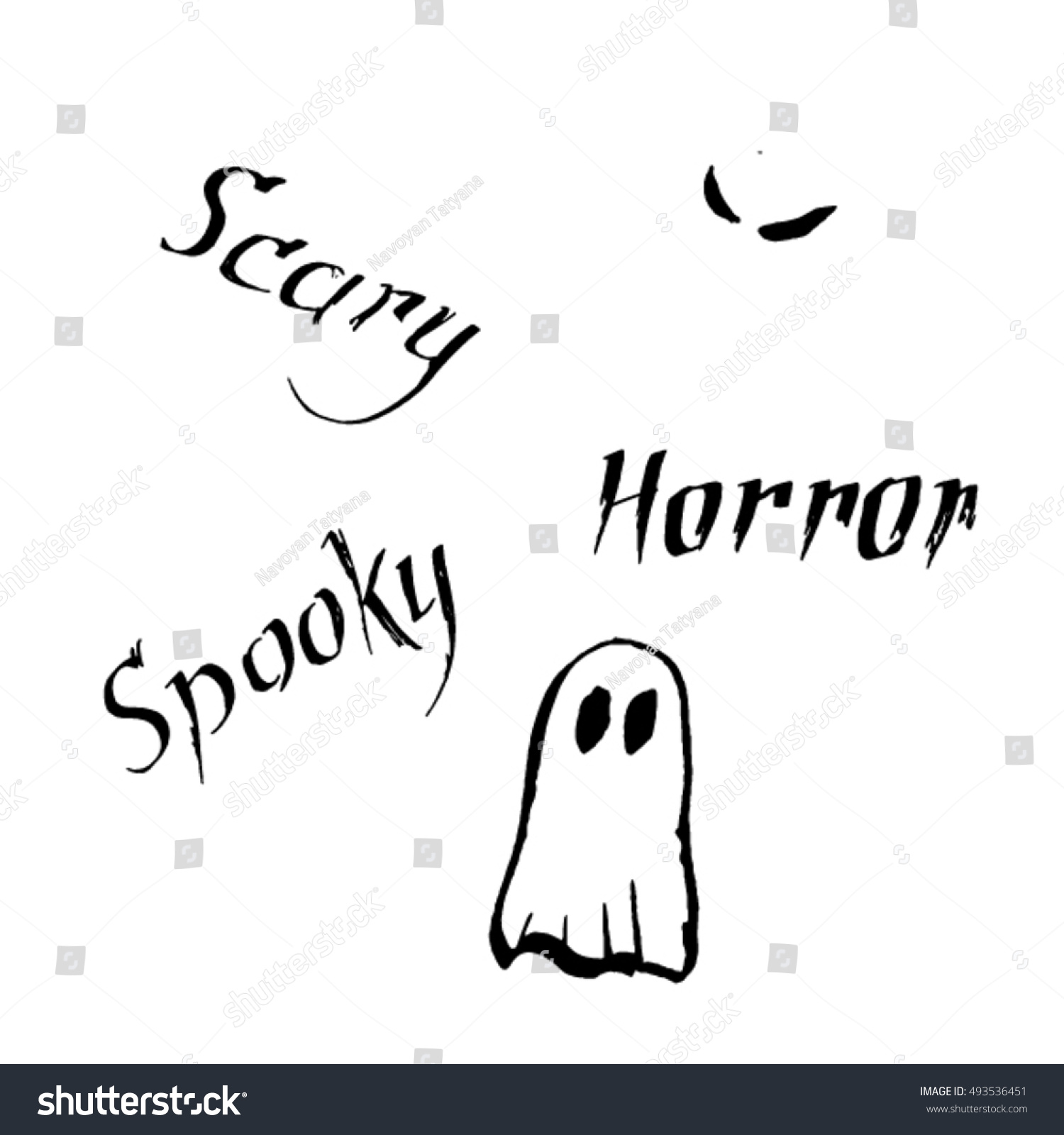 Halloween Phrases Scary Spooky Horror Illustration Stock Vector ...