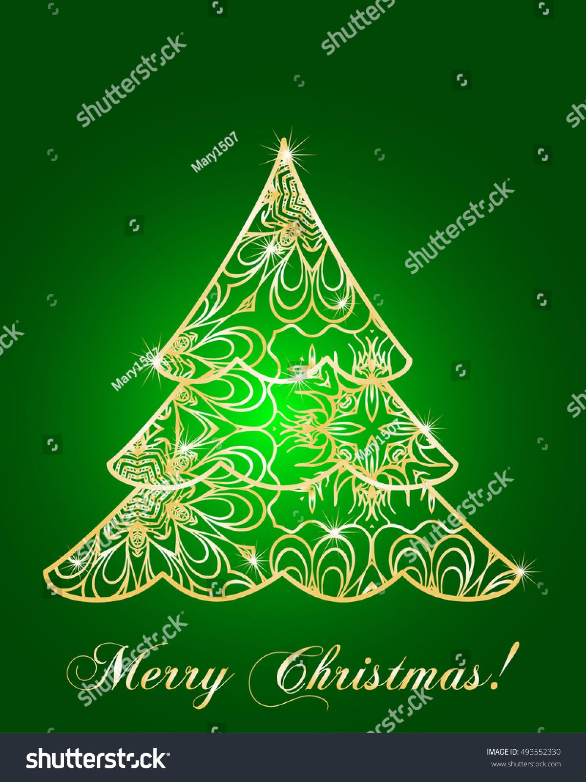 Stylized christmas tree on decorative background stock