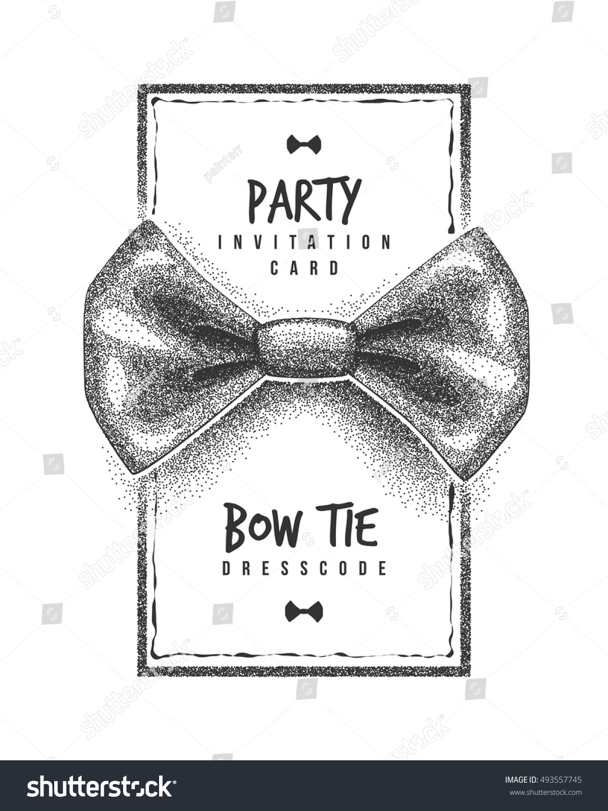 Bow Tie Party Invitation Card Dress Stock Vector 493557745 ...