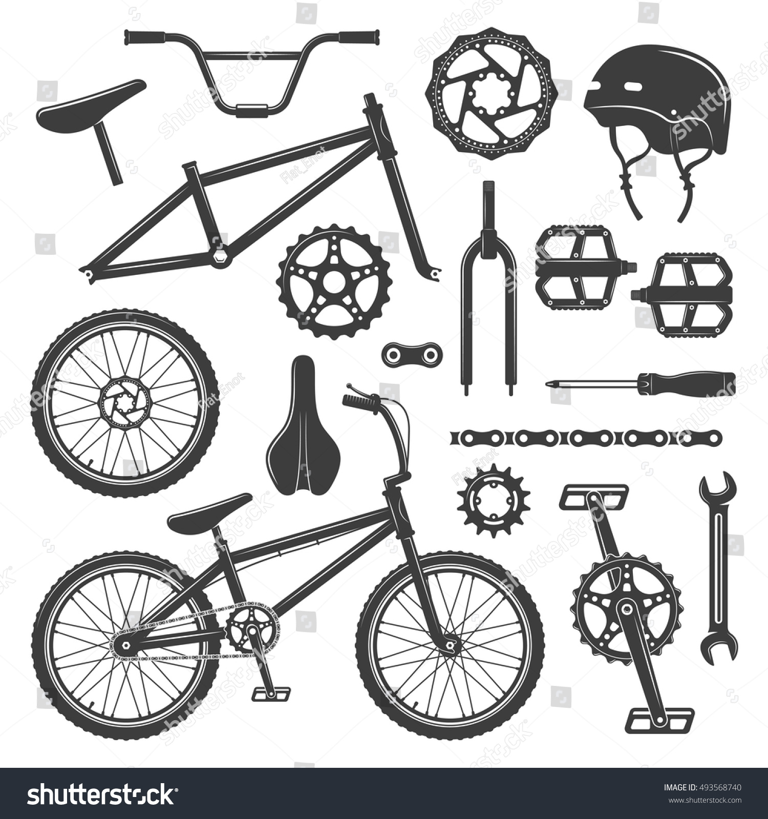 Tractor Parts Icon : Bicycle equipment parts set vector black stock