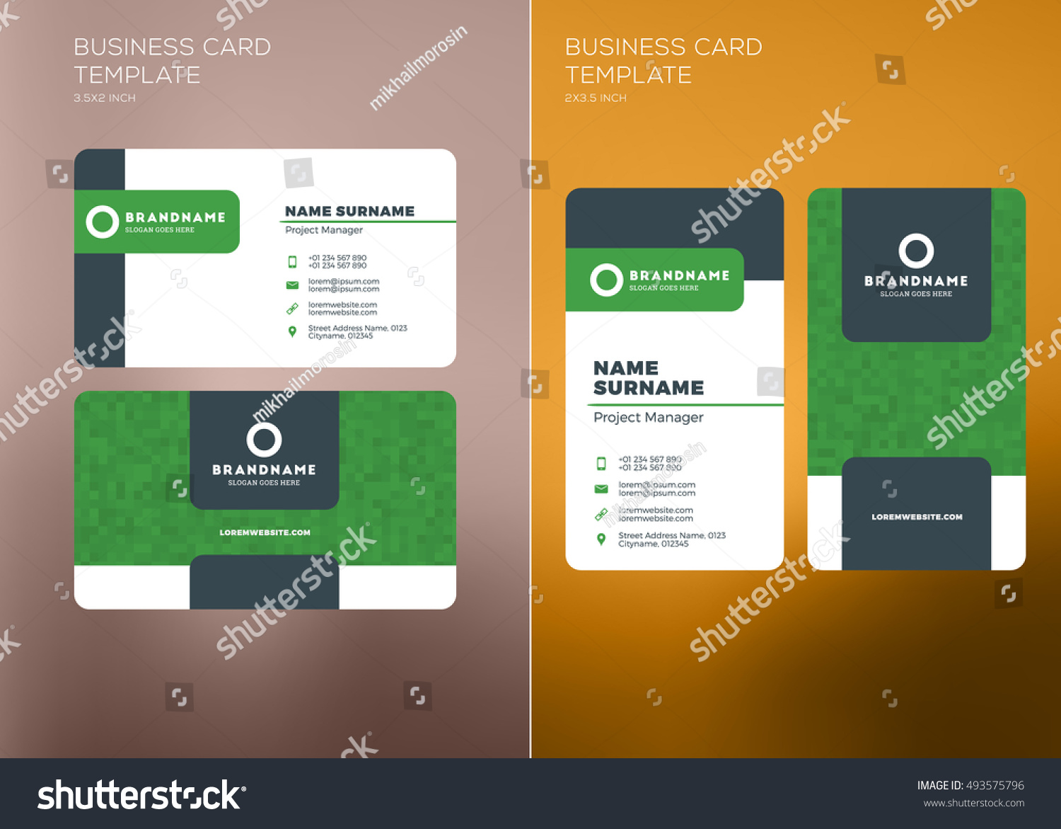 Corporate business card print template personal stock vector 2018 corporate business card print template personal visiting card with company logo vertical and horizontal cheaphphosting Choice Image