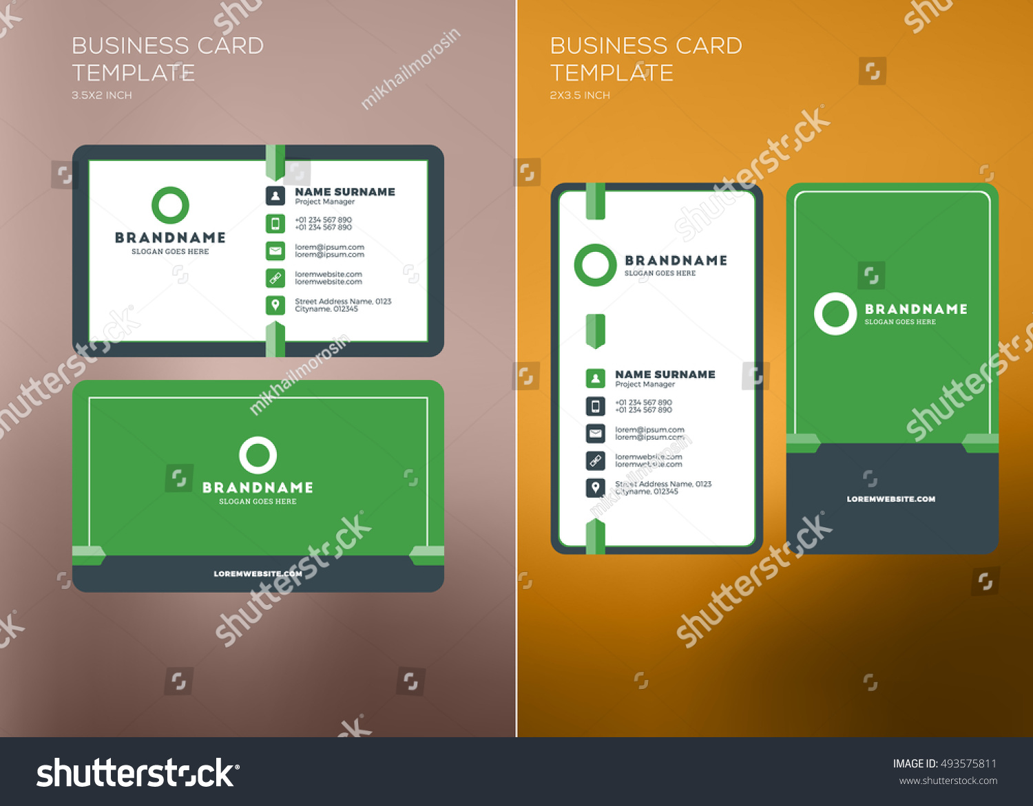Corporate business card print template personal stock vector corporate business card print template personal visiting card with company logo vertical and horizontal cheaphphosting Image collections