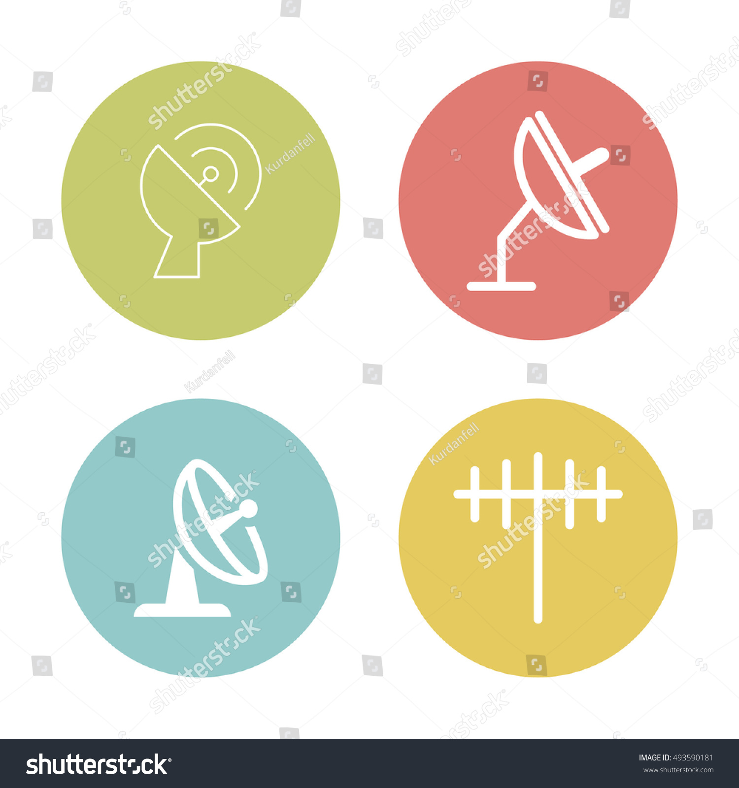 Simple Set Antenna Satellite Dish Related Stock Vector Royalty Free