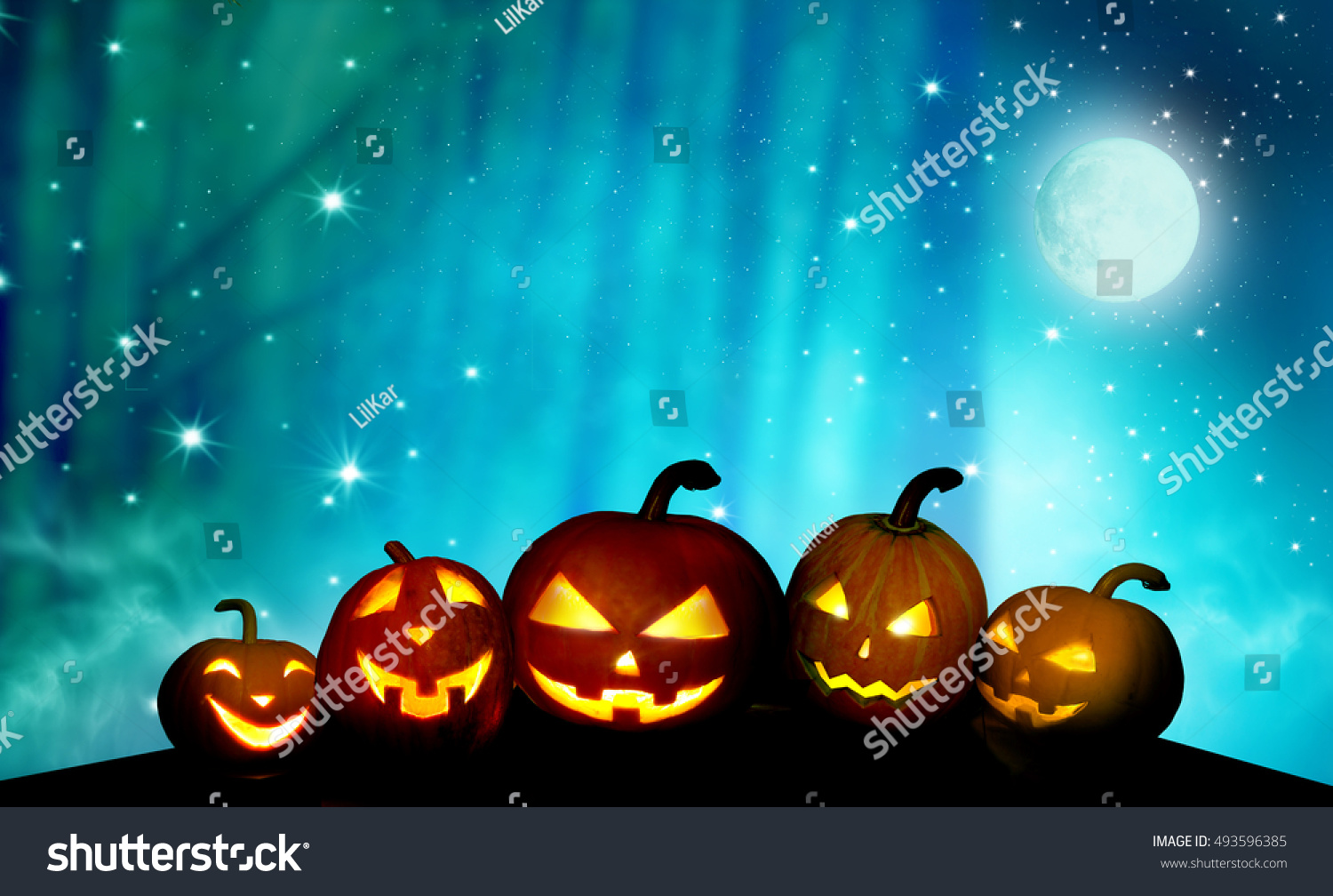 Scary  pumpkins jack-o-lantern in the night  .Halloween background  #493596385