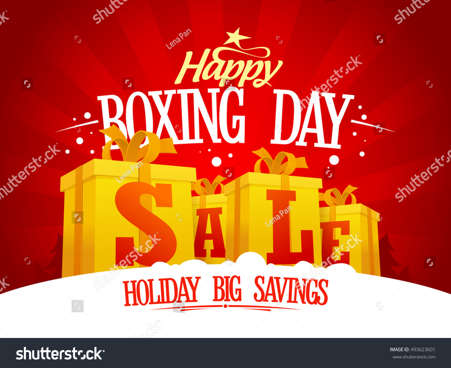Boxing Day Sale Design Concept With Golden Gift Boxes Holiday Savings Banner