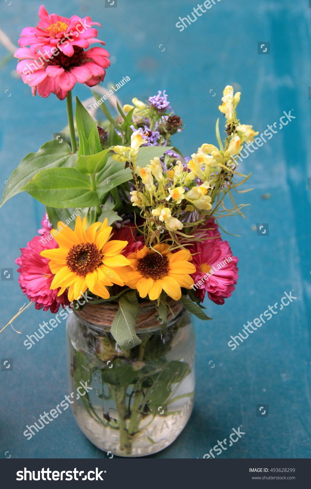 Beautiful Fall Wild Flowers Glass Vase Stock Photo Edit Now