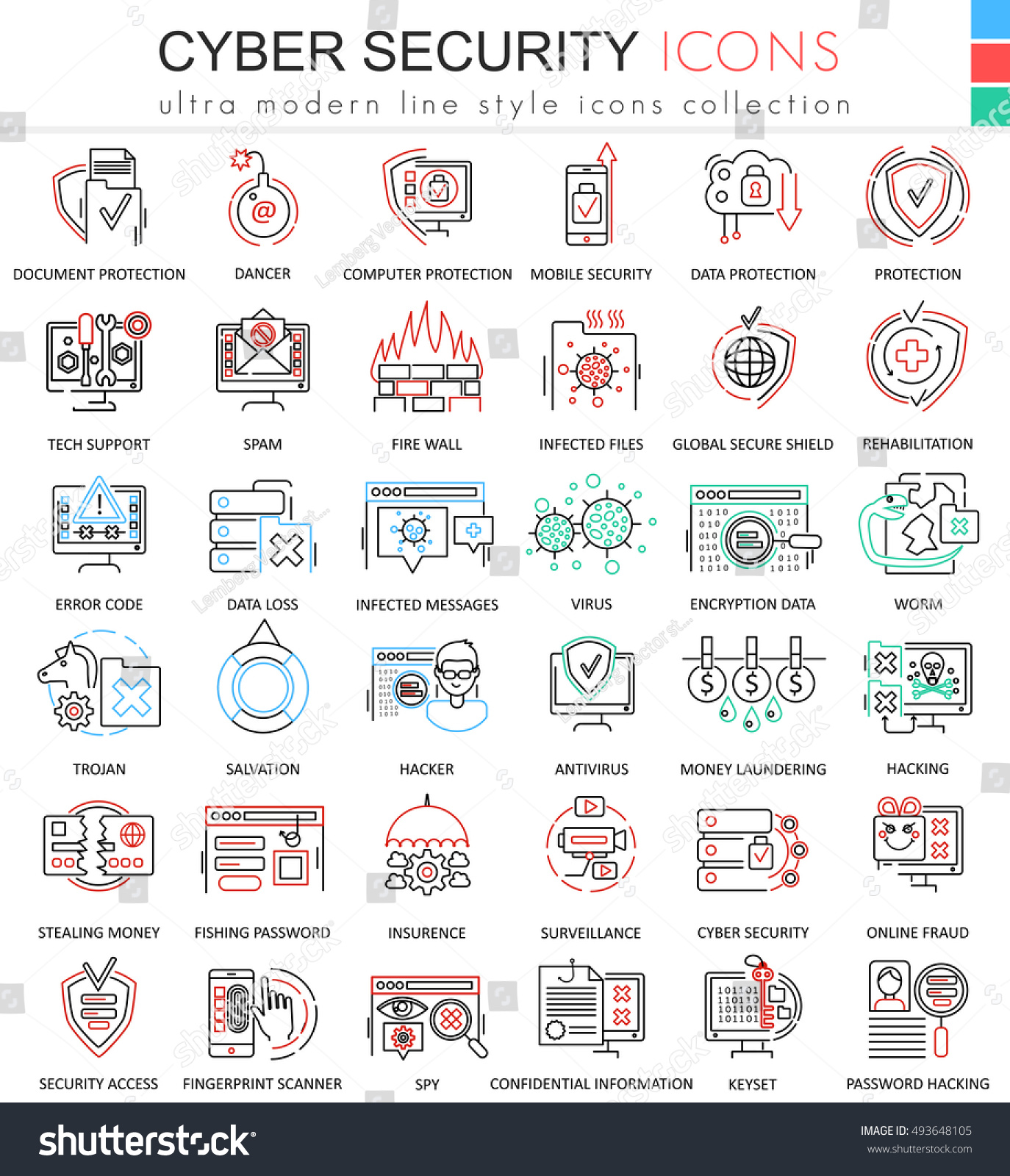 Modern colors web design - Modern Colors Web Design Vector Cyber Security Ultra Modern Color Outline Line Icons For Apps