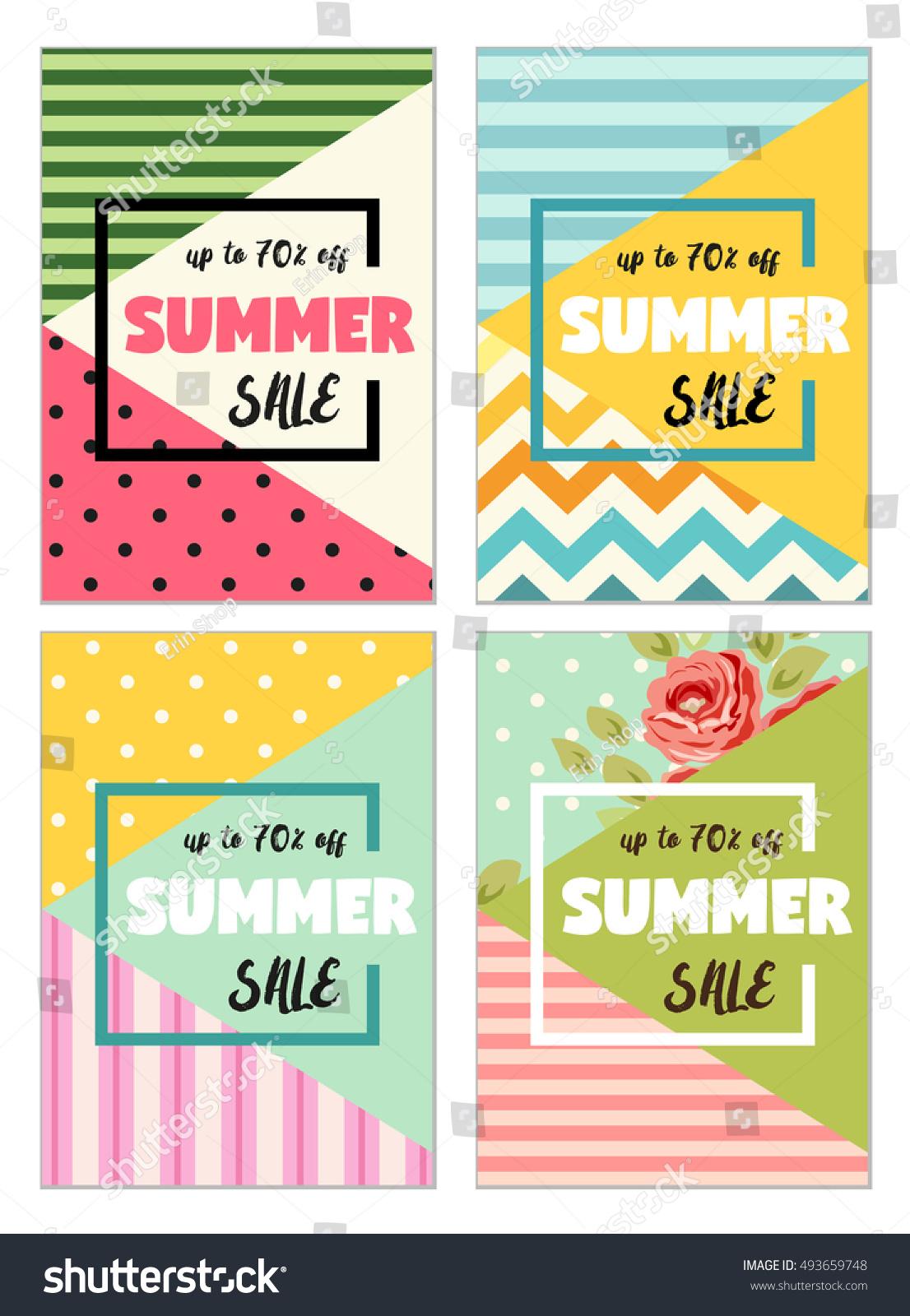 cute set summer spring sale flyer stock illustration 493659748