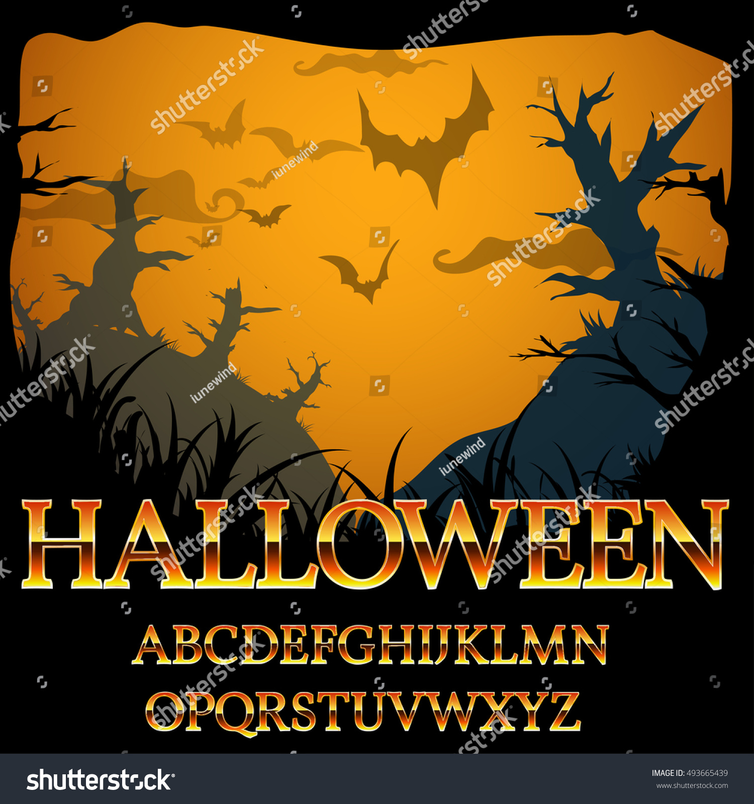 halloween fantasy gold style alphabet font letter set for titles and