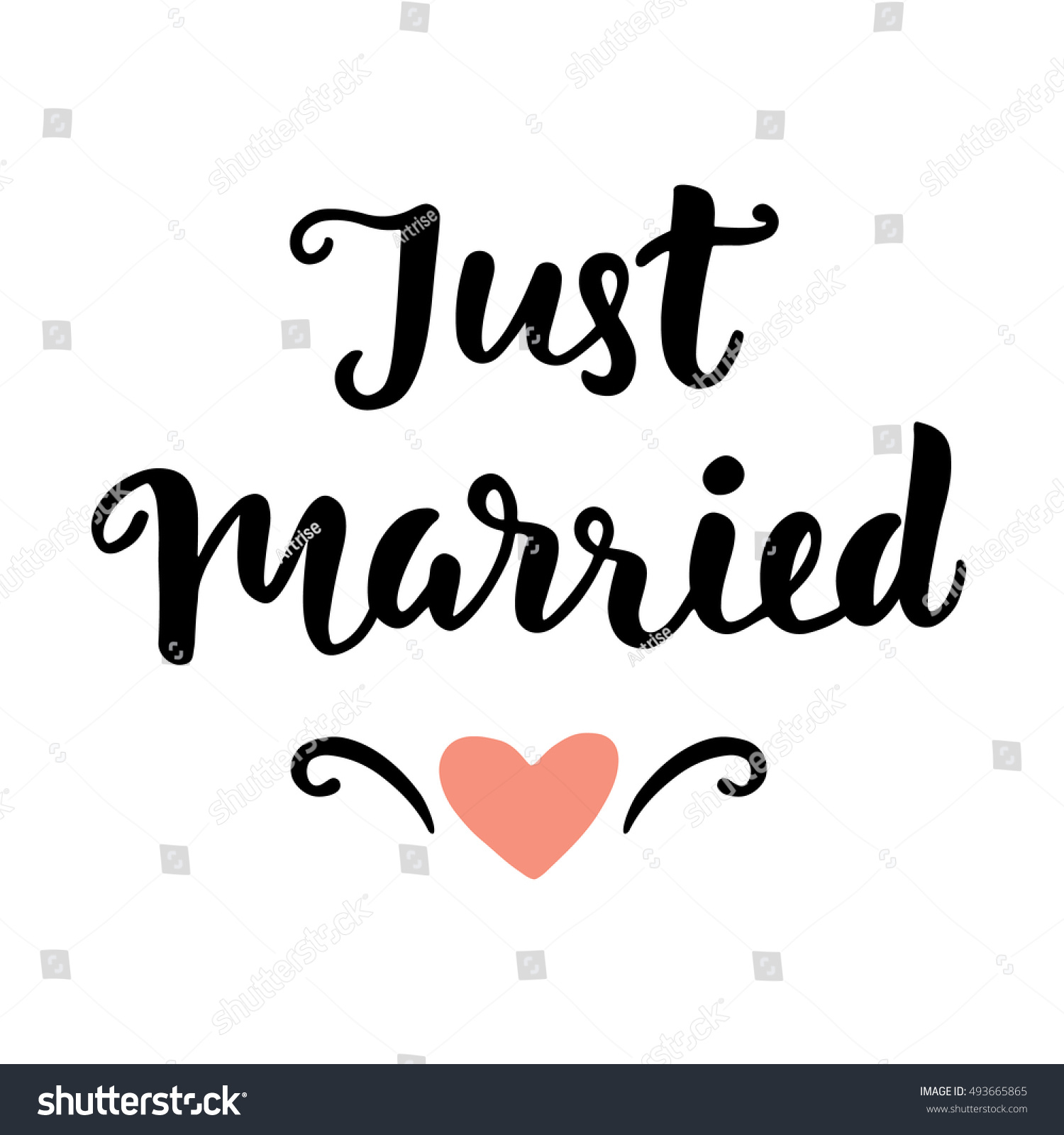 Just married wedding hand written lettering stock vector Married to design