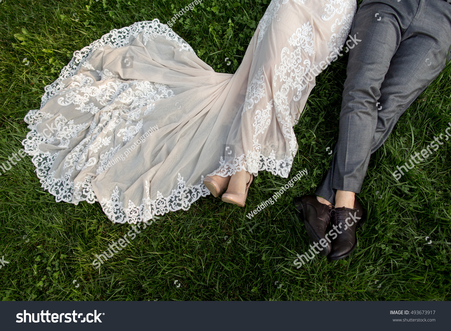 Stock Photo Wedding Bridal Dress And Groom Suit Elegant After Ceremony Such