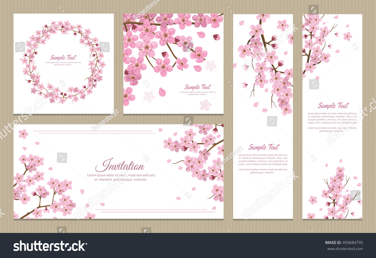 Set Greeting Cards Banners Invitation Card Stock Vector 493684795 ...