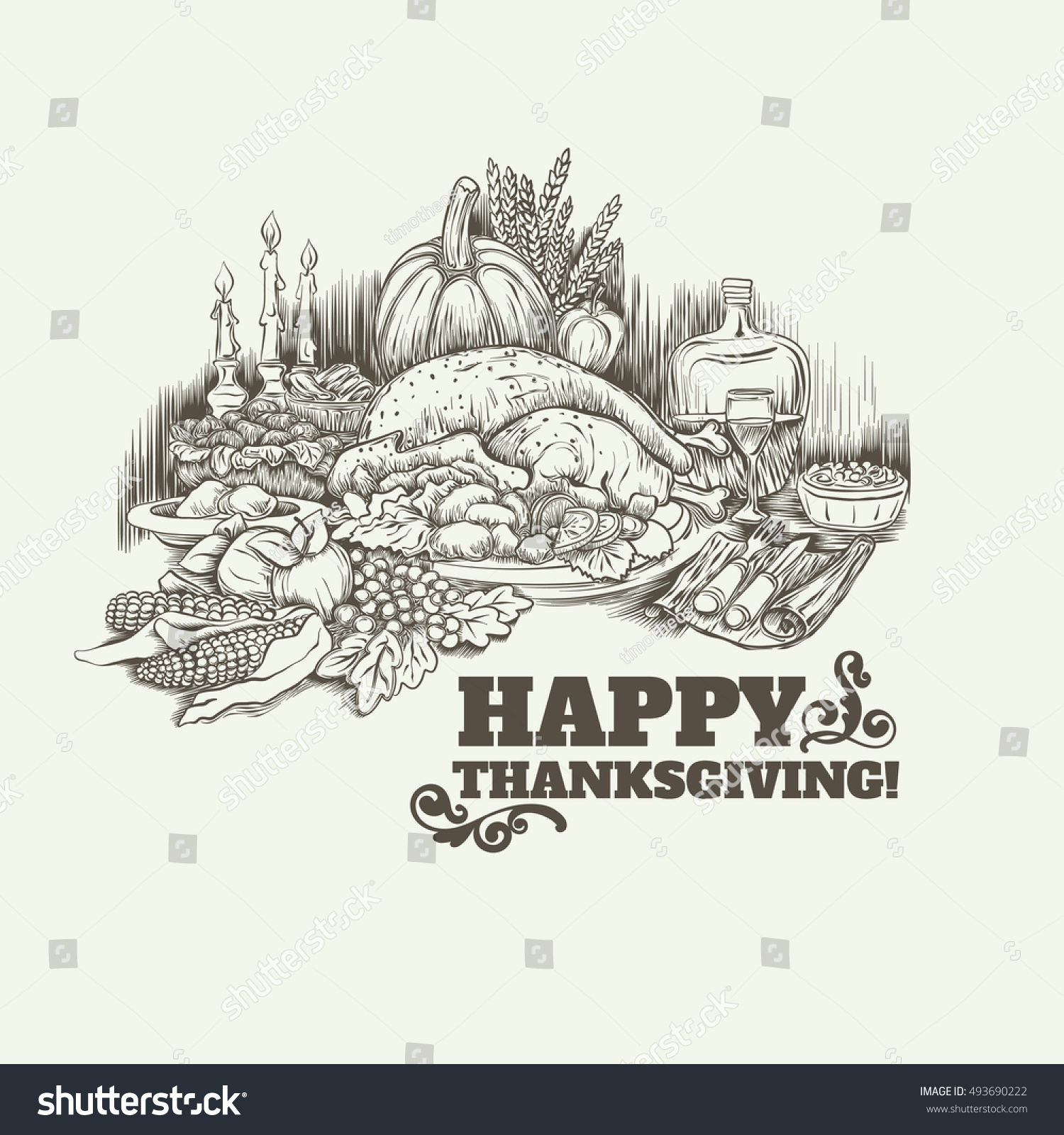 happy thanksgiving day vector card template のベクター画像素材