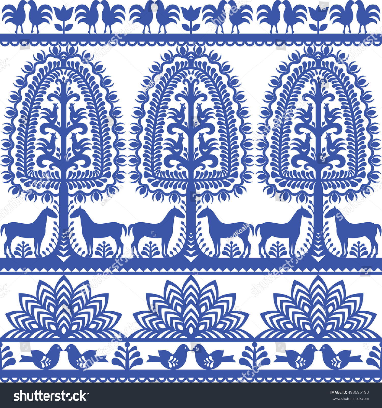 Seamless Floral Polish Folk Art Pattern Stock Vector Royalty Free