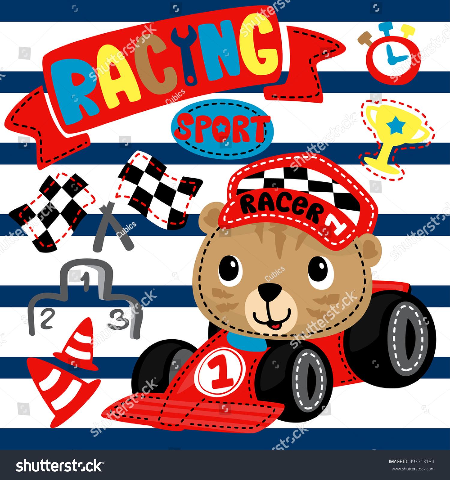 Cute tiger cartoon driving race car stock vector 493713184 for Motor racing for kids