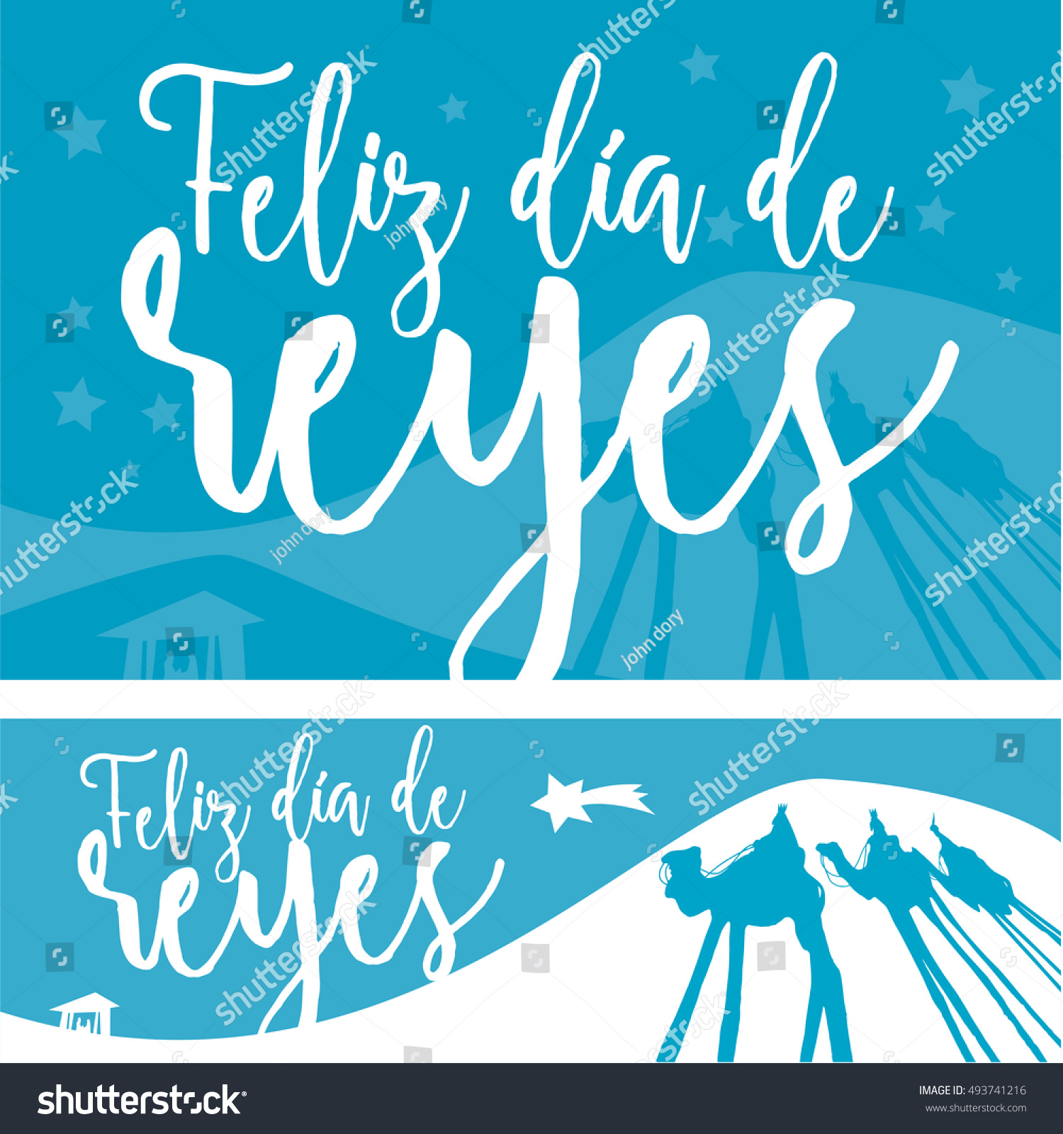 2 different banner Christmas vectors Happy Epiphany written in spanish