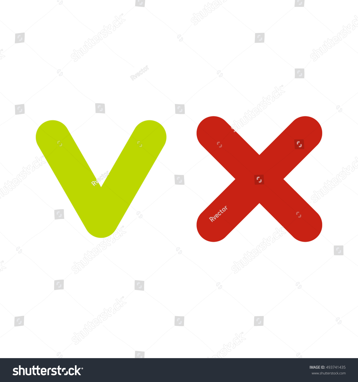 Fat tick cross icon flat style stock illustration 493741435 fat tick and cross icon in flat style isolated on white background click and choice biocorpaavc