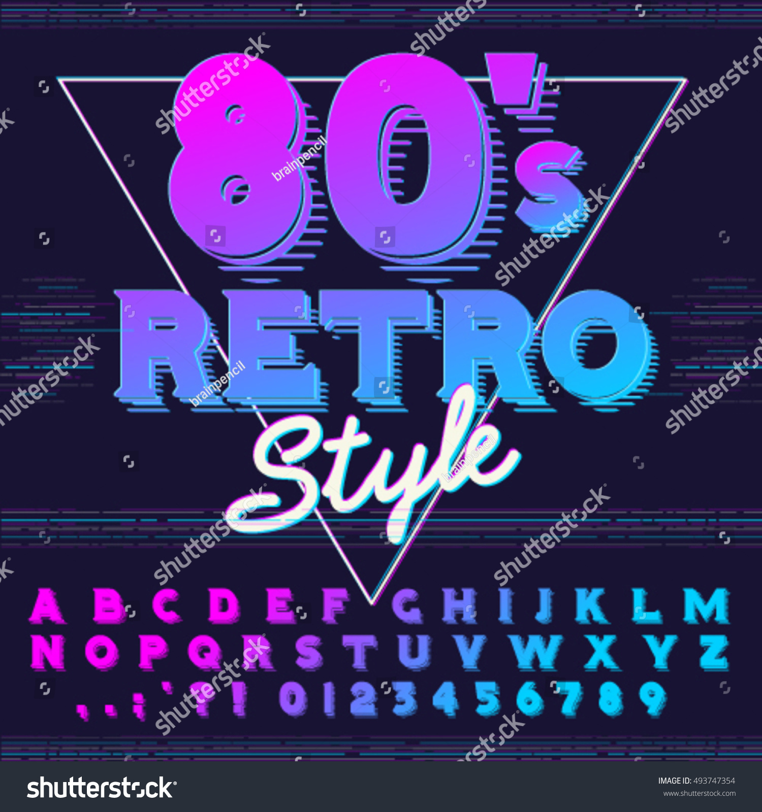 80s poster design - 80 S Retro Alphabet Font Retro Alphabet Vector Old Style Graphic Poster Eighties Style Graphic