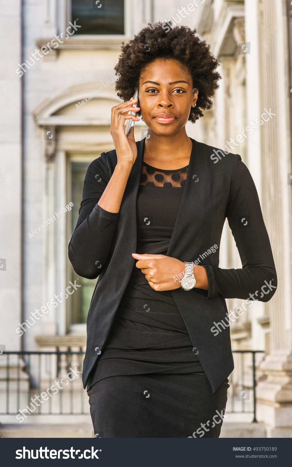 African American Businesswoman Short Afro Hairstyle Stock Photo