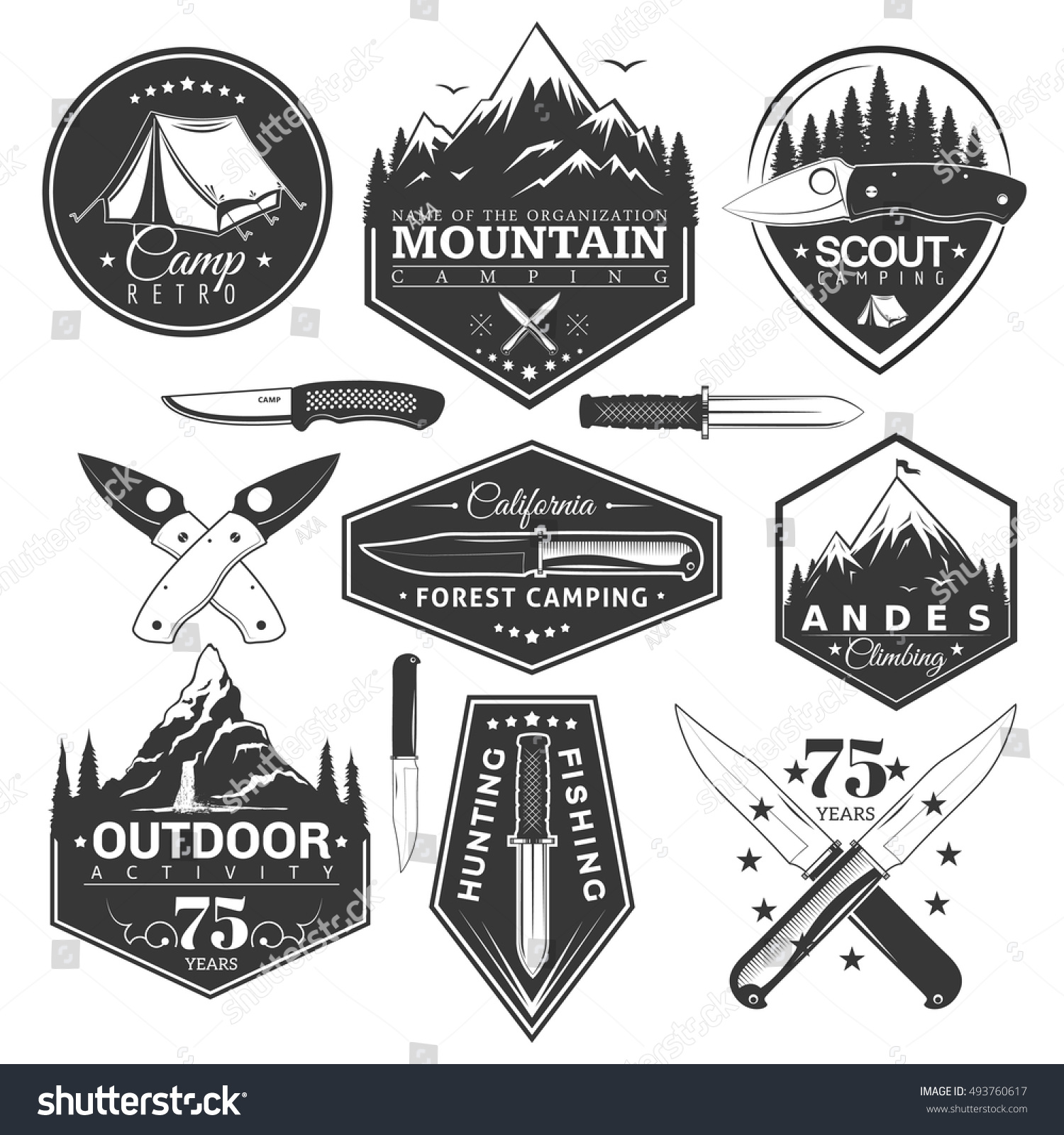 Vector set of vintage stickers in the theme of the camp and sports vector labels