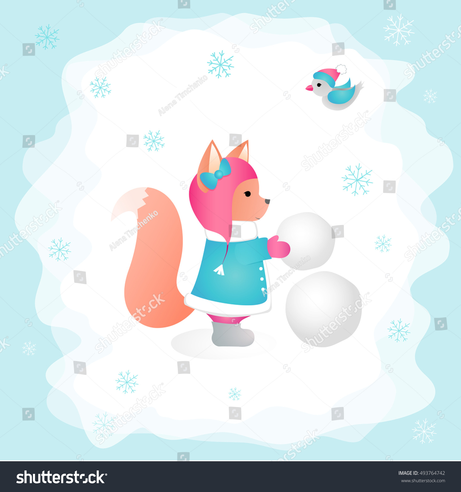 squirrel sculpts snowman forest childrens illustration stock