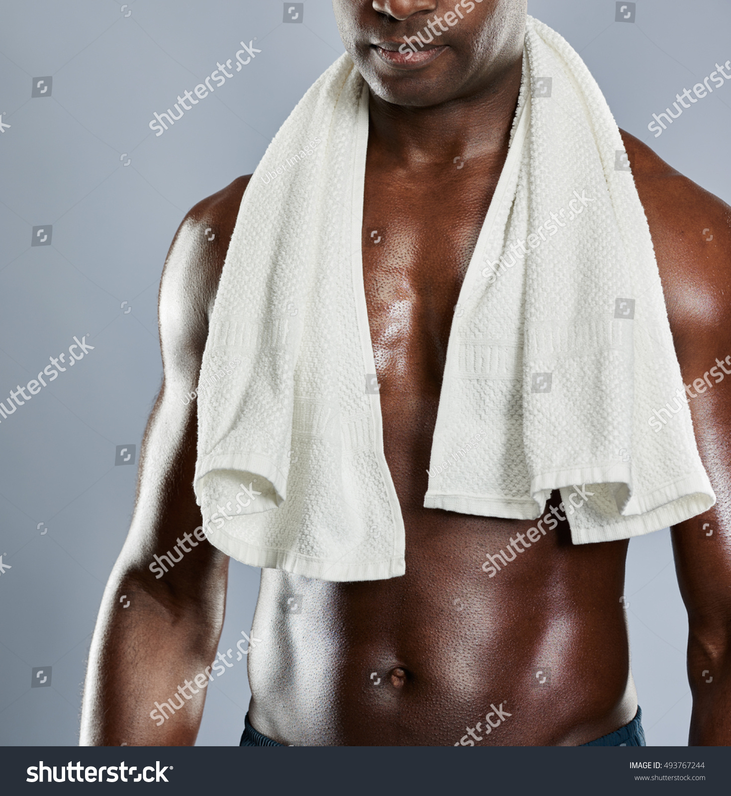 Unidentifiable Muscular Chest Black Man Towel Stock Photo Royalty