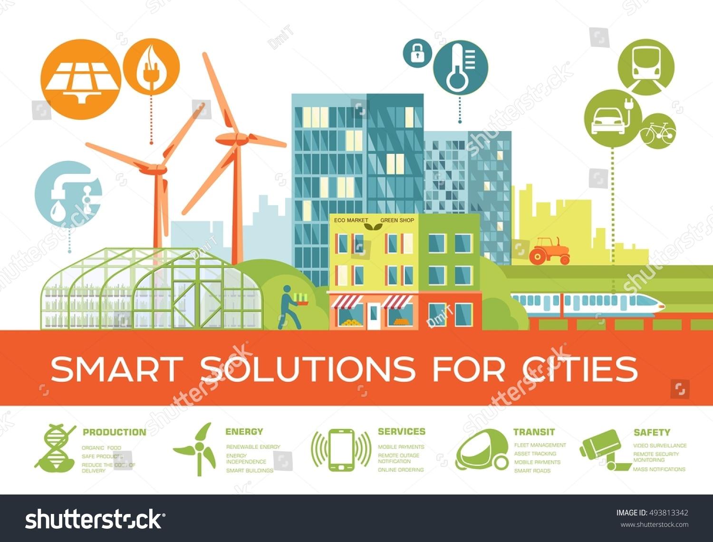 smart city vector illustration smart solutions のベクター画像素材