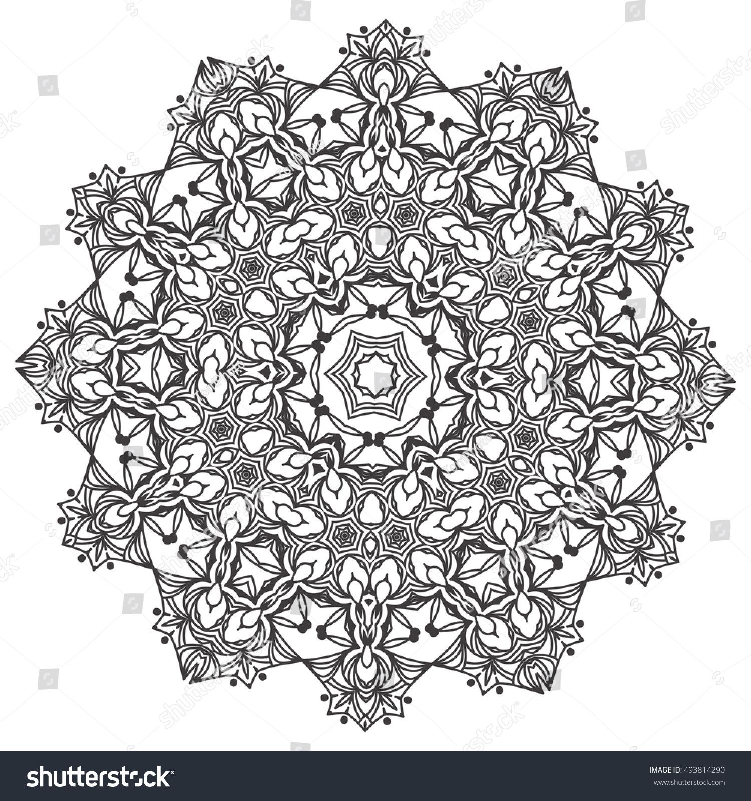 Abstract Lace Snowflake Mandala Ornament Coloring Stock ...