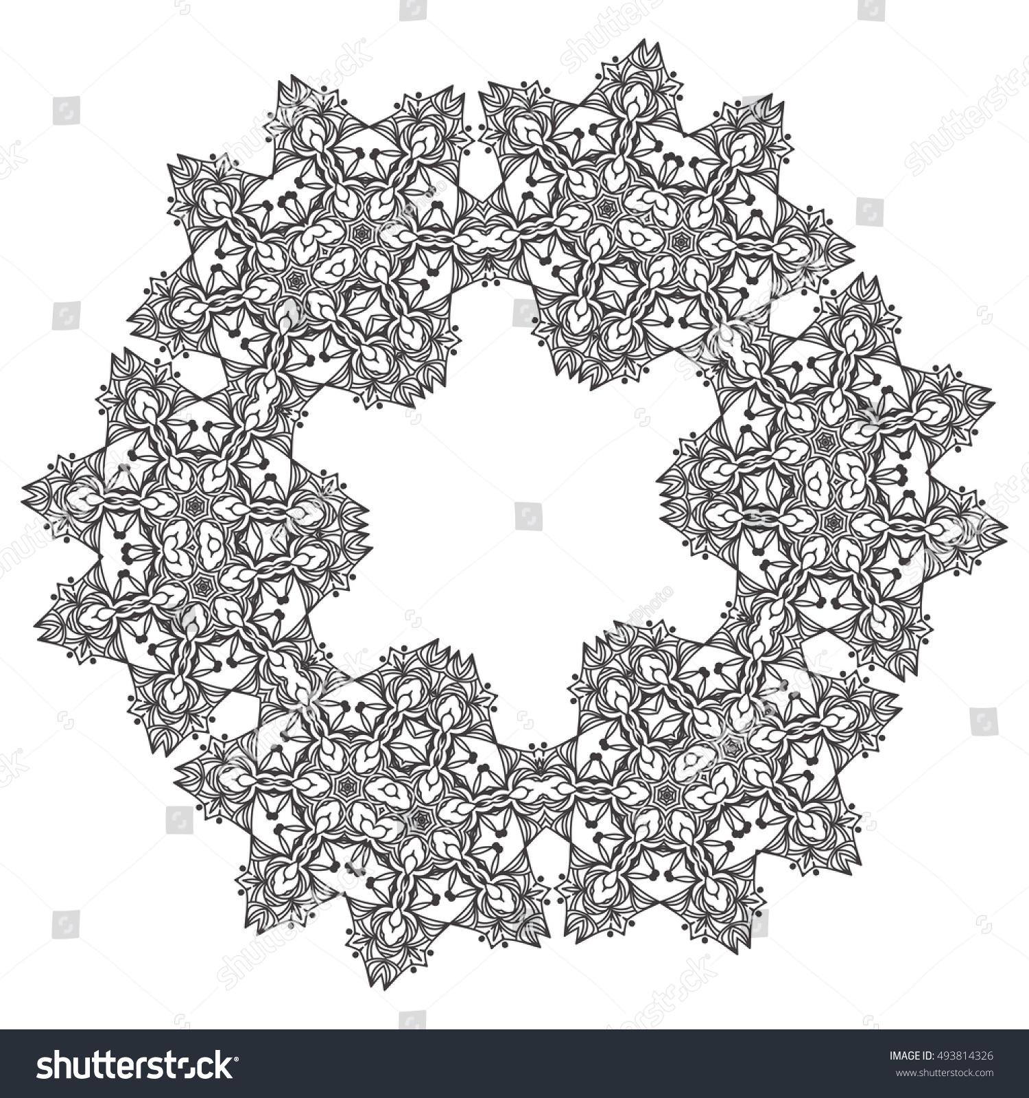 Abstract Lace Snowflake Mandala Ornament Coloring Stock Vector ...