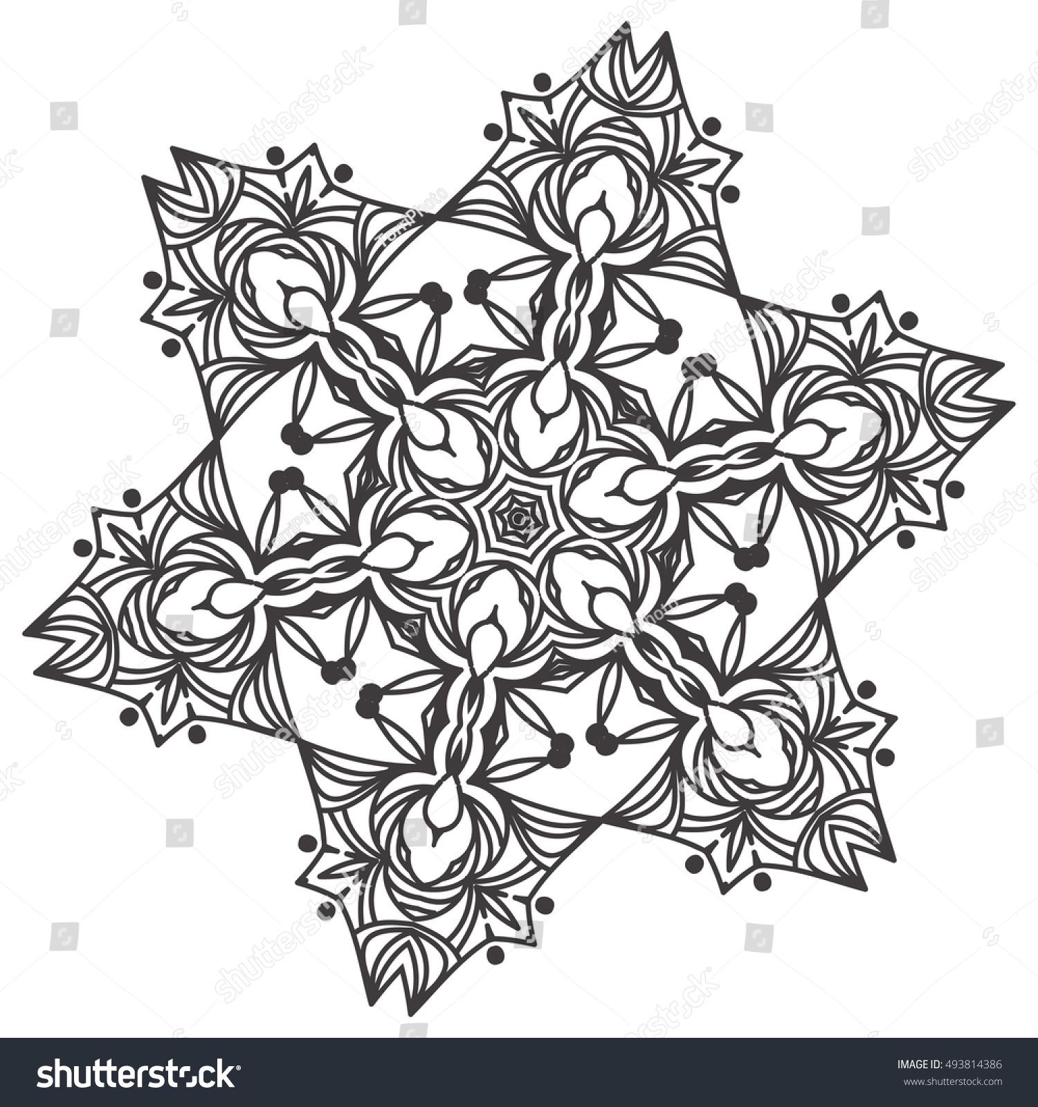 Ethnic Fractal Mandala Floral Doodle Pattern Stock Vector HD ...