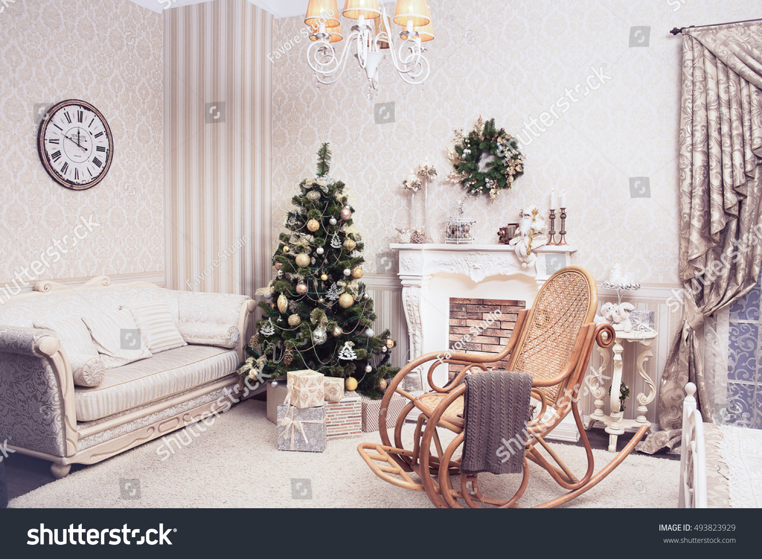 Cozy Living Room Holiday Time Christmas Stock Photo Edit Now 493823929