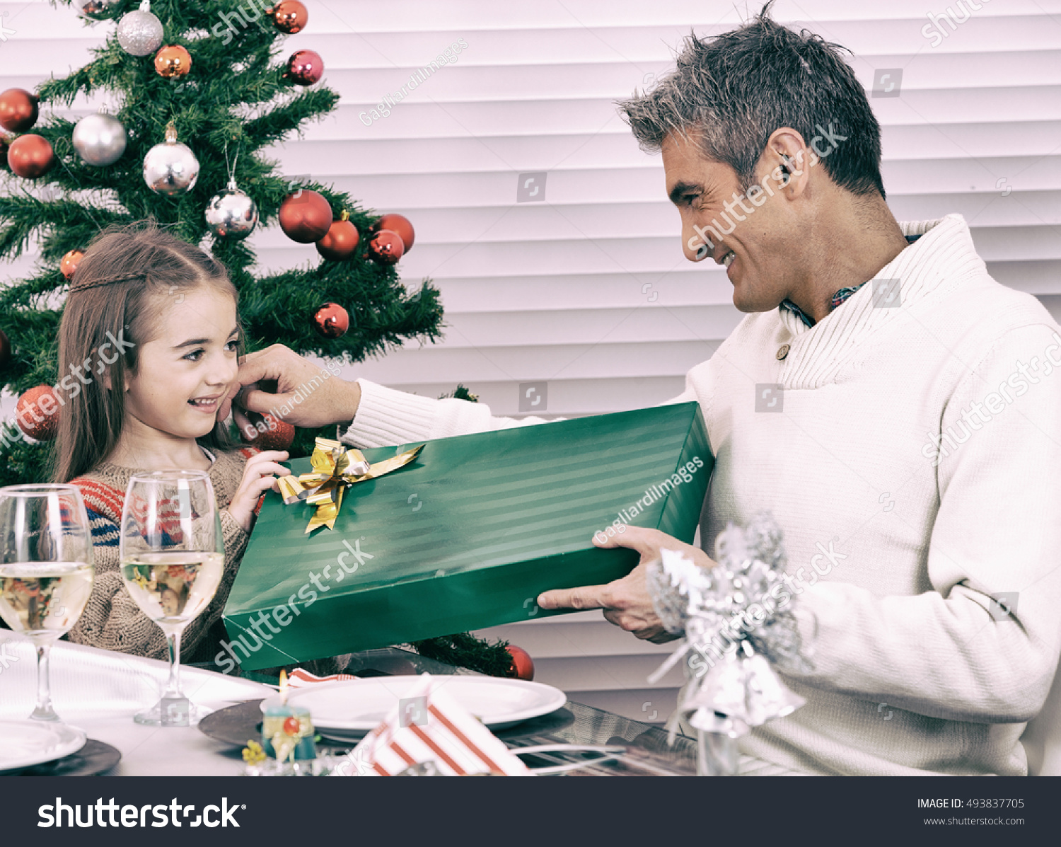 Child Receiving Gift Dad Christmas Concept Stock Photo (Edit Now ...
