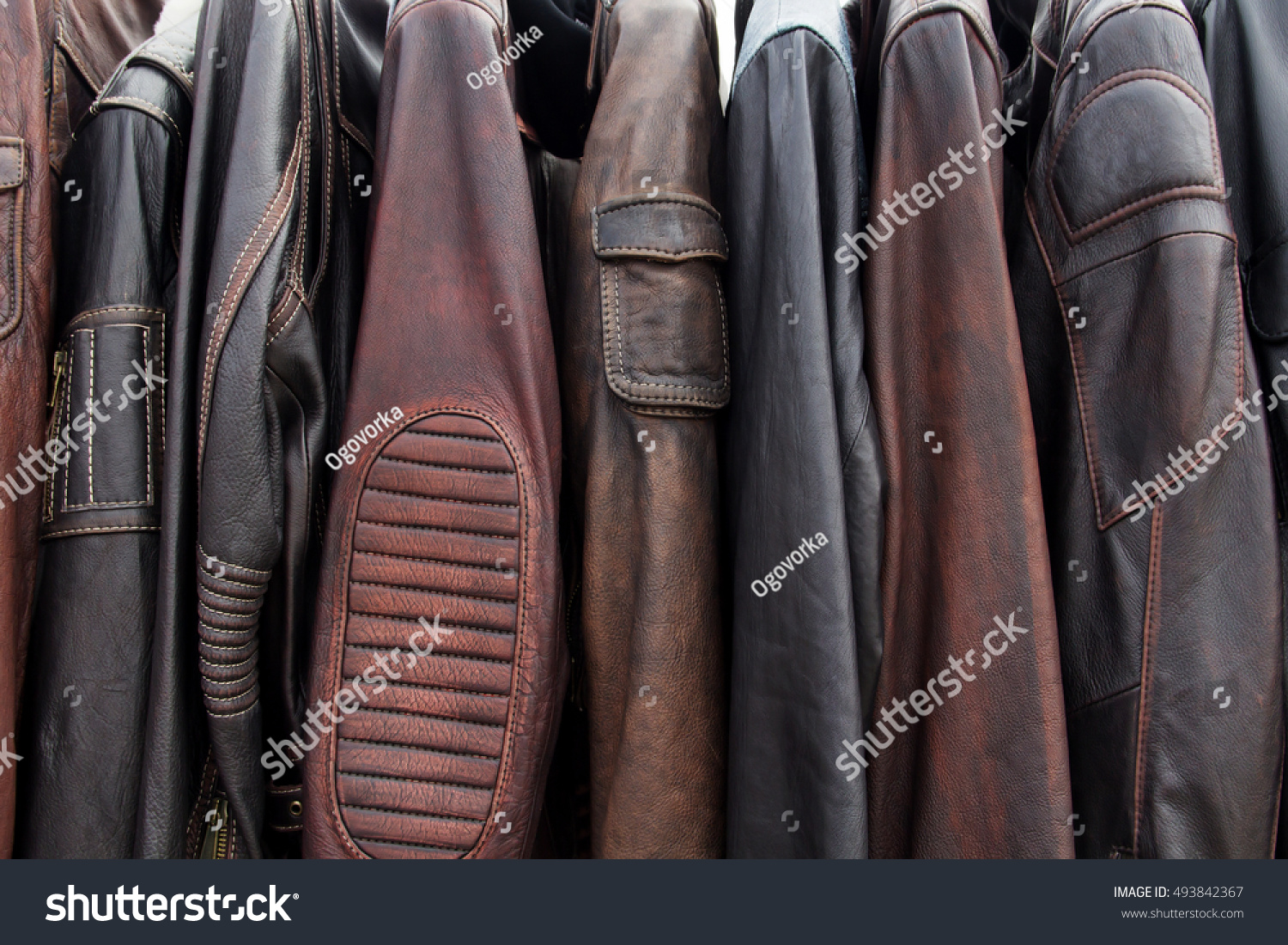 Collection Leather Jackets On Hangers Shop Stock Photo 493842367 ...