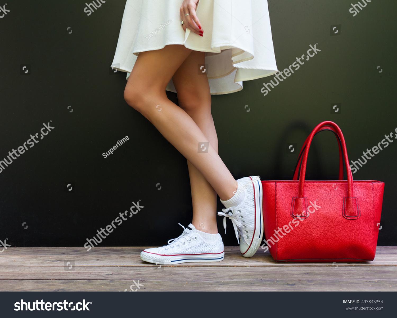 Beautiful Fashionable Big Red Handbag Standing Stock Photo ...