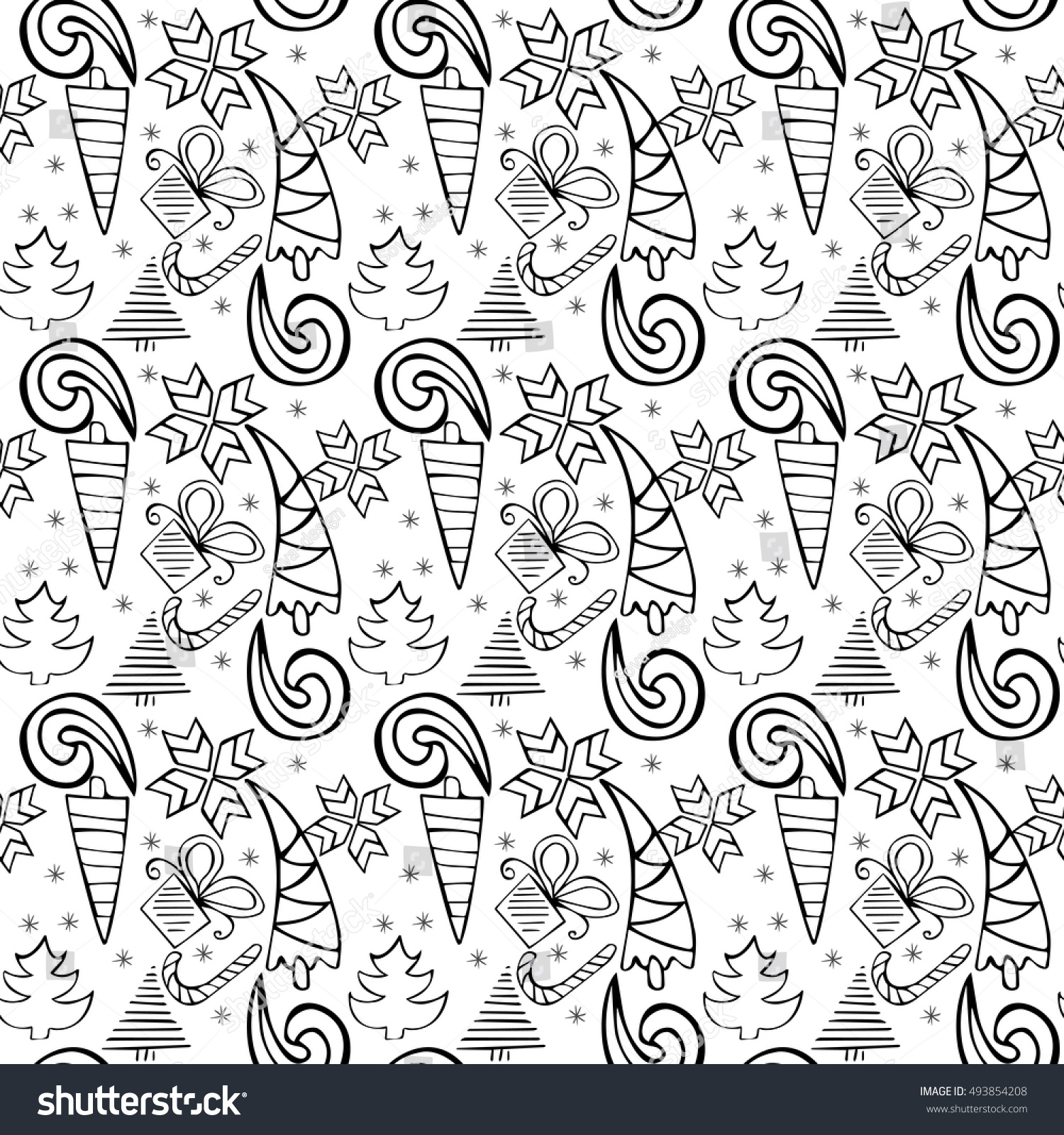 Seamless Doodle Christmas Themed Pattern Add Colors Anti Stress Coloring Page For Adults