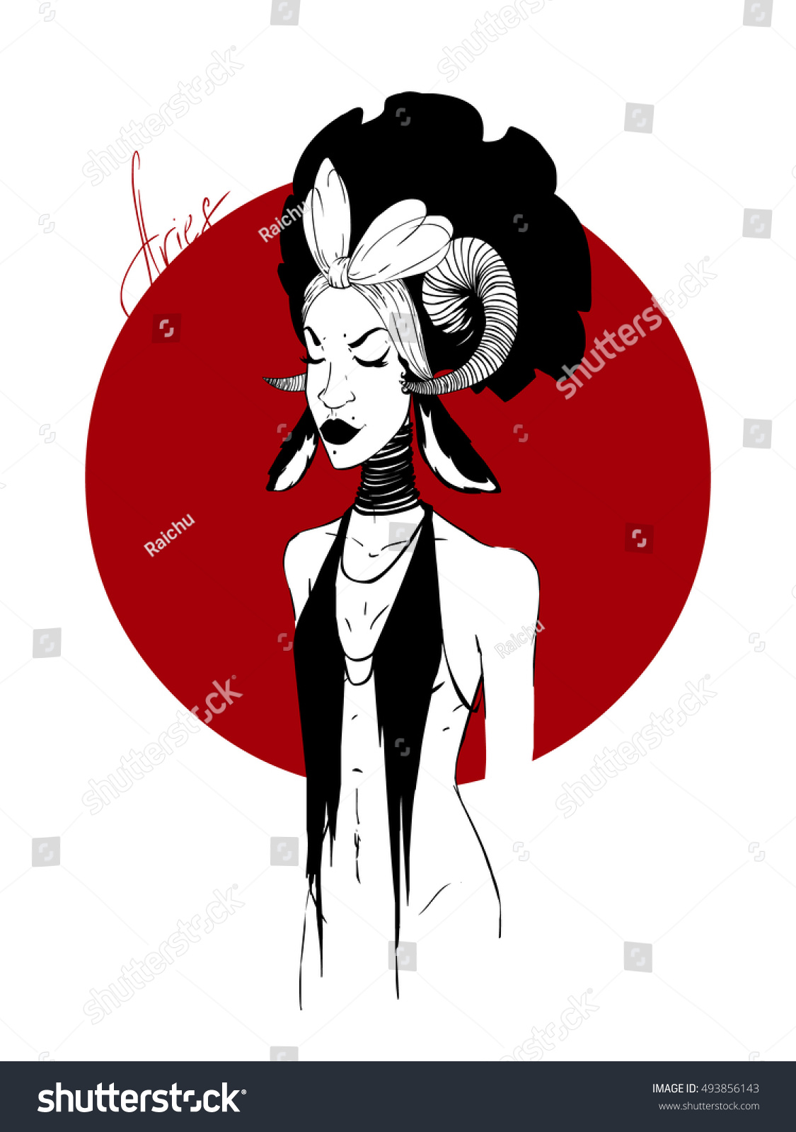 Zodiac Aries Girl Stock Vector 493856143 - Shutterstock