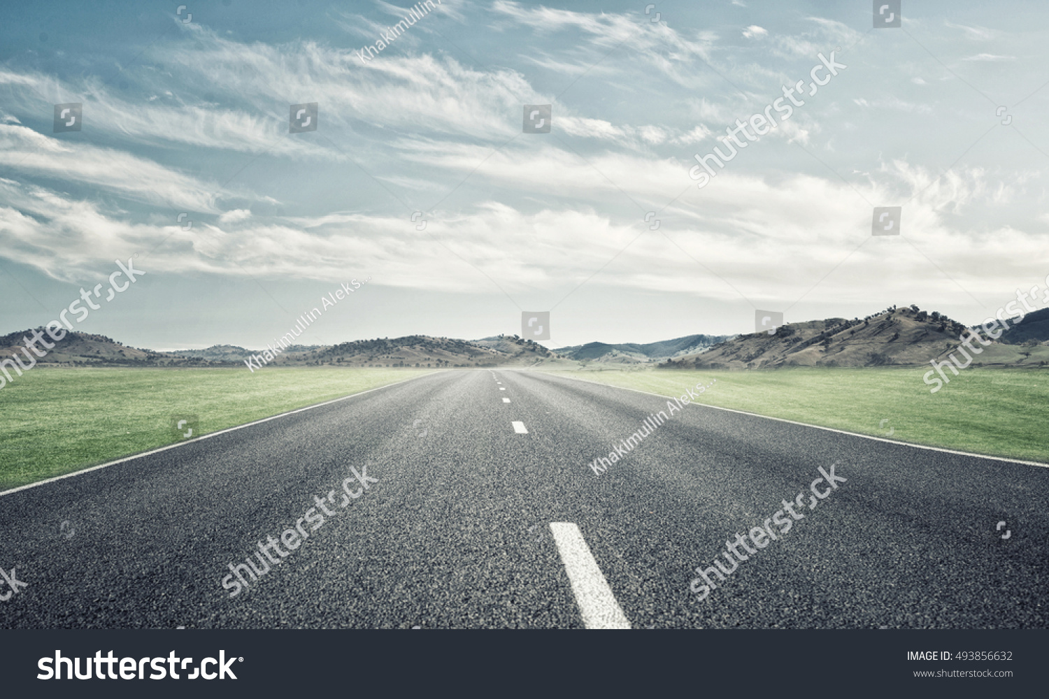 Natural summer landscape with asphalt road to horizon #493856632