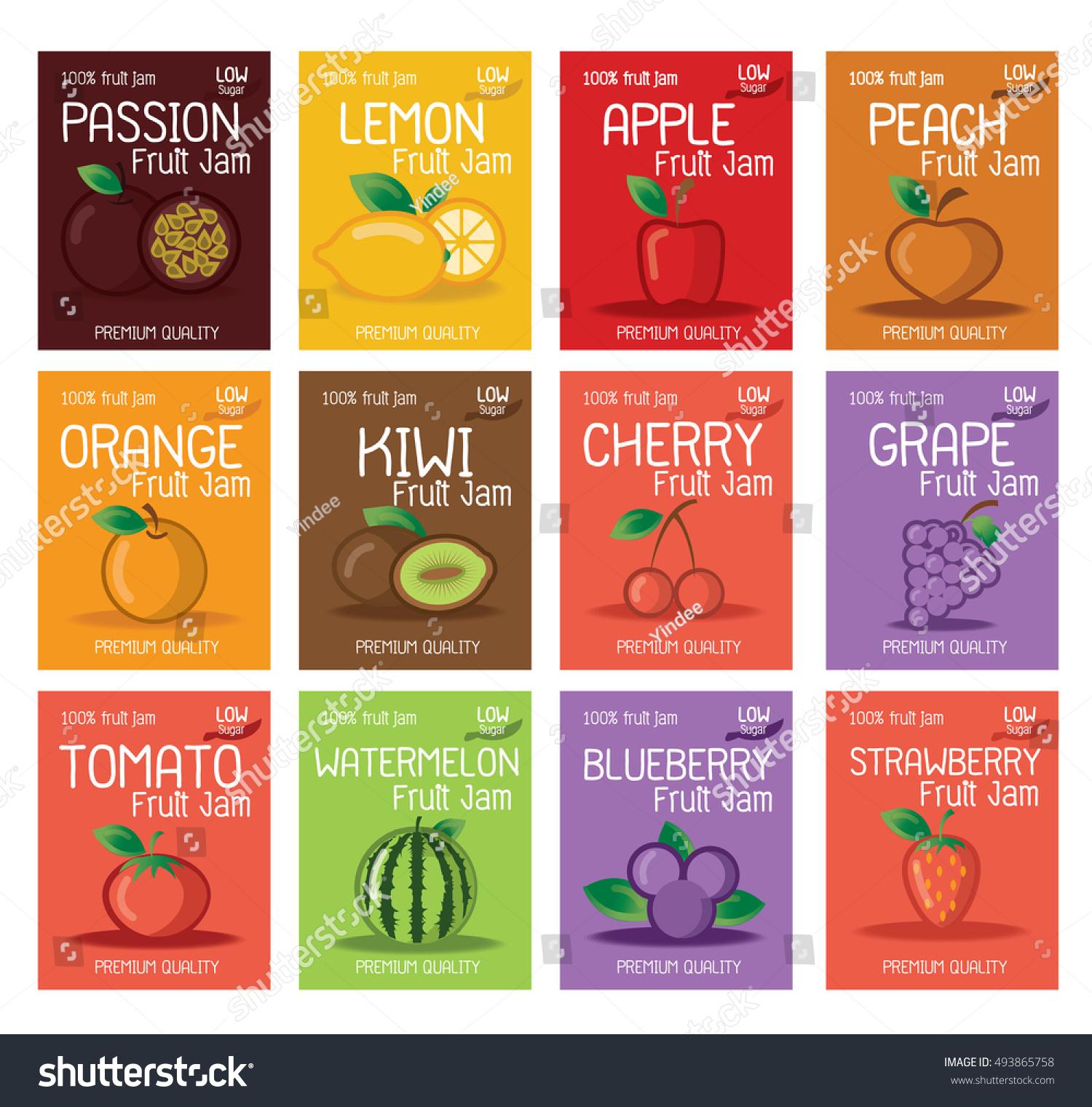 fruit jam labels design template stock vector royalty free
