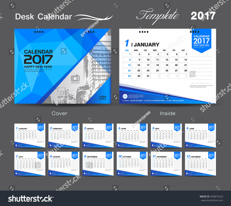 set Desk Calendar 2017 template design cover Desk Calendar flyer design Blue cover template