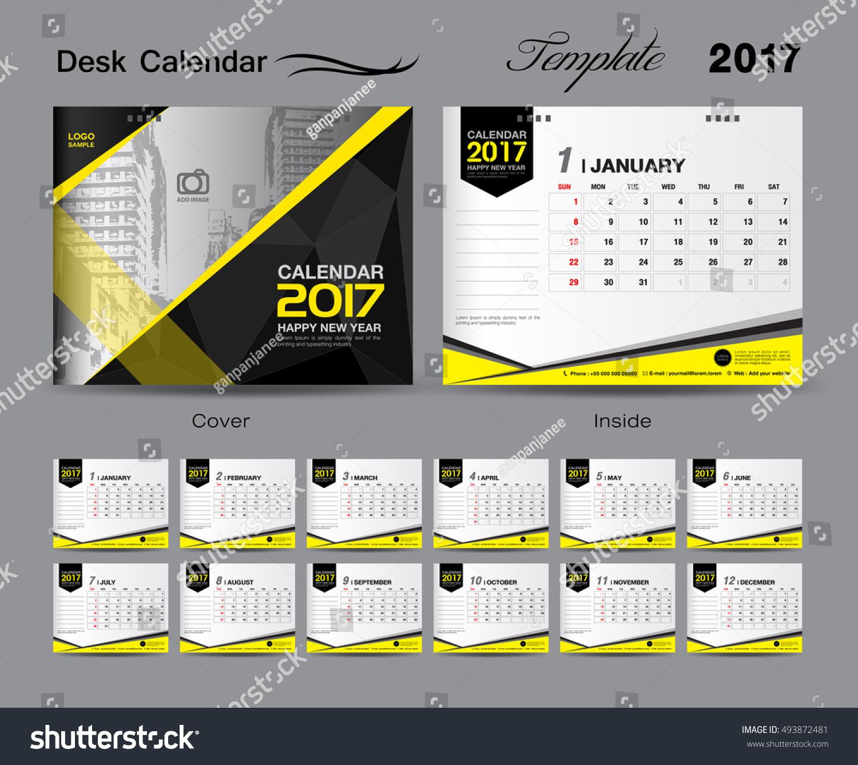 Set Black Desk Calendar 2017 Template Stock Vector HD (Royalty Free ...